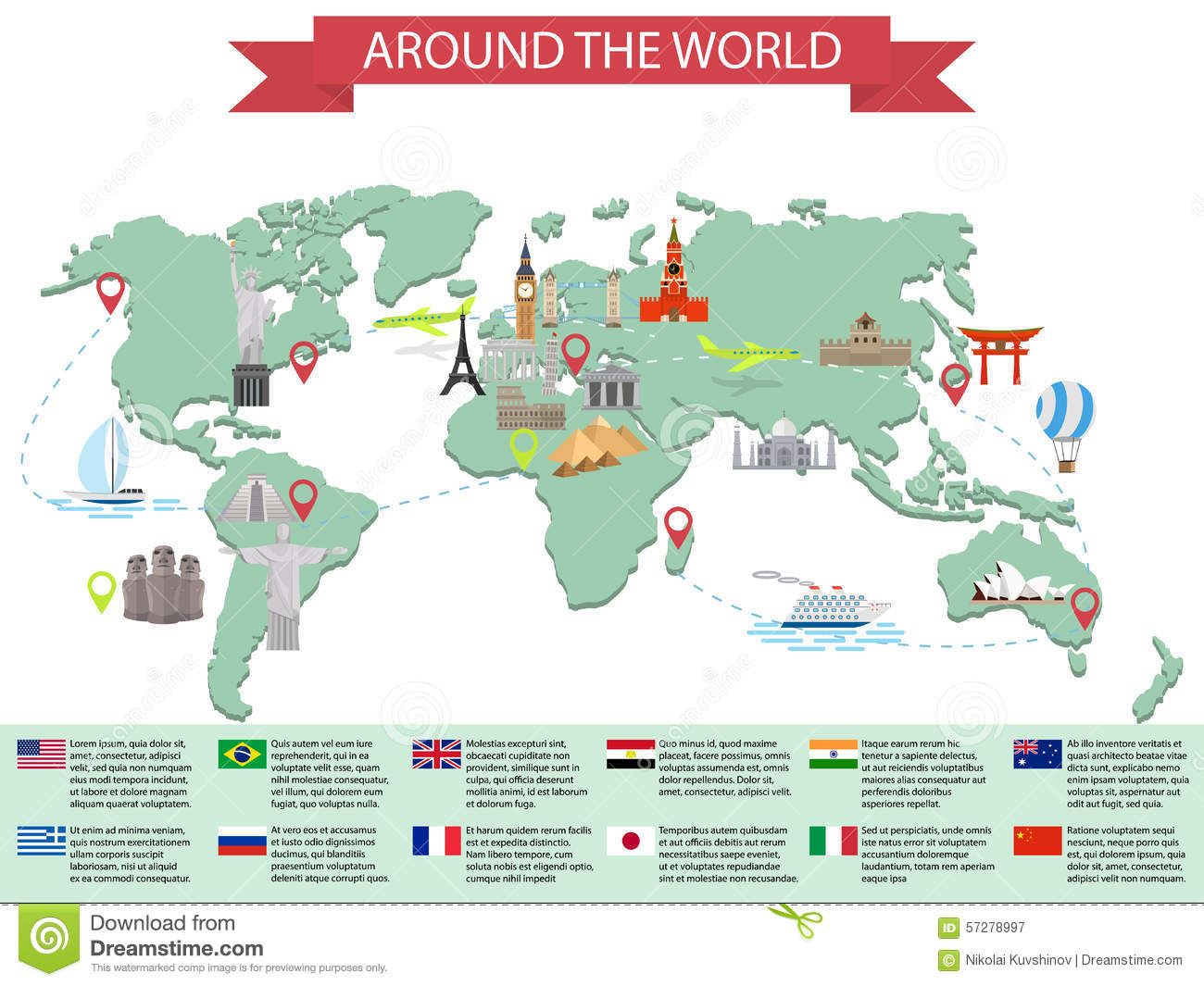Infographic world landmarks on map stock vector illustration of infographic world landmarks on map royalty free vector gumiabroncs Images