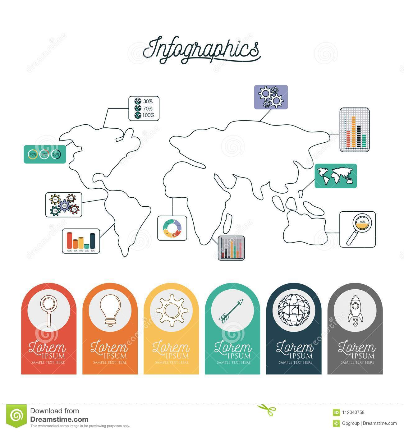 Infographic world map with labels with icons on circles on bottom download comp gumiabroncs Choice Image