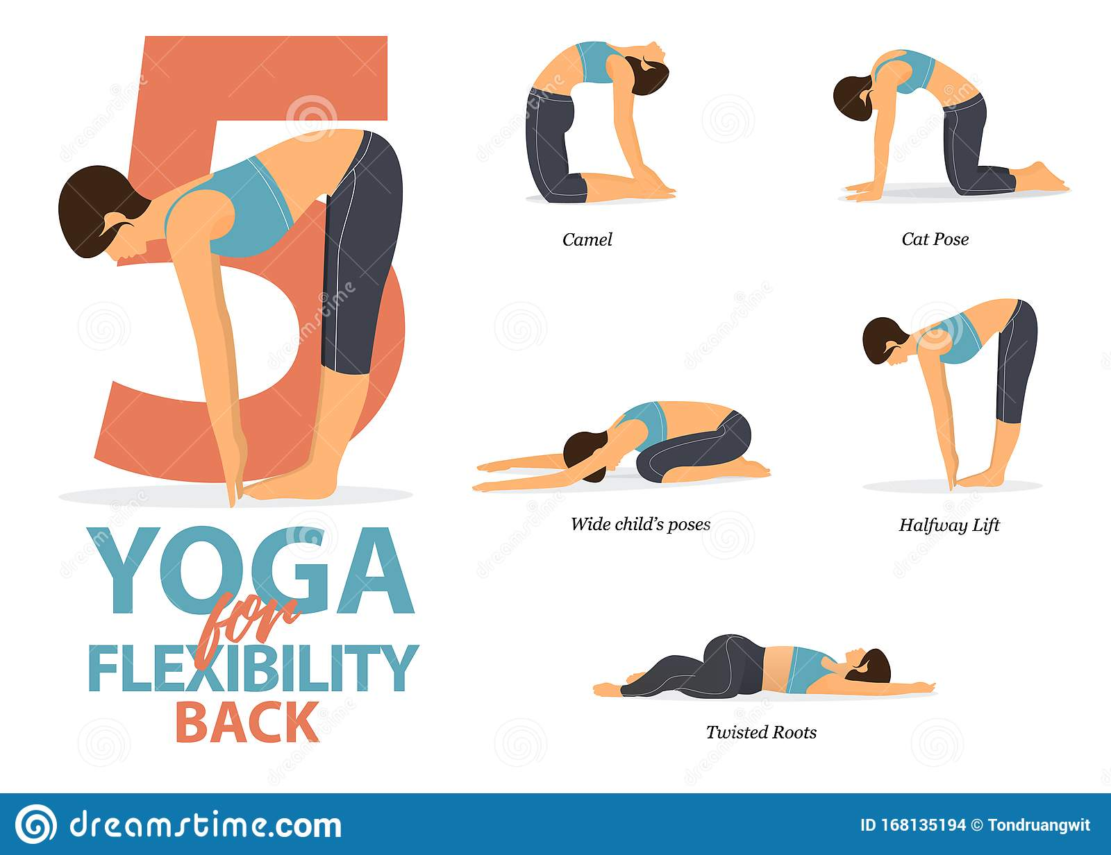 Infographic Of 50 Yoga Poses For Back Flexibility In Flat Design ...