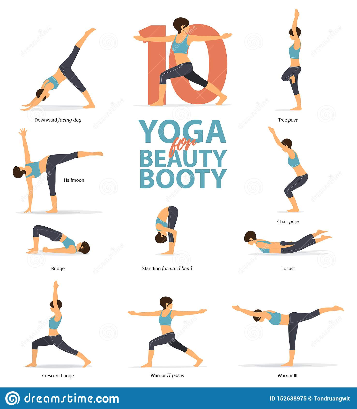 Infographic Of 10 Yoga Poses For Beauty Booty In Flat Design Beauty Woman Is Doing Exercise For Booty Blaster Vector Stock Vector Illustration Of Front Good 152638975