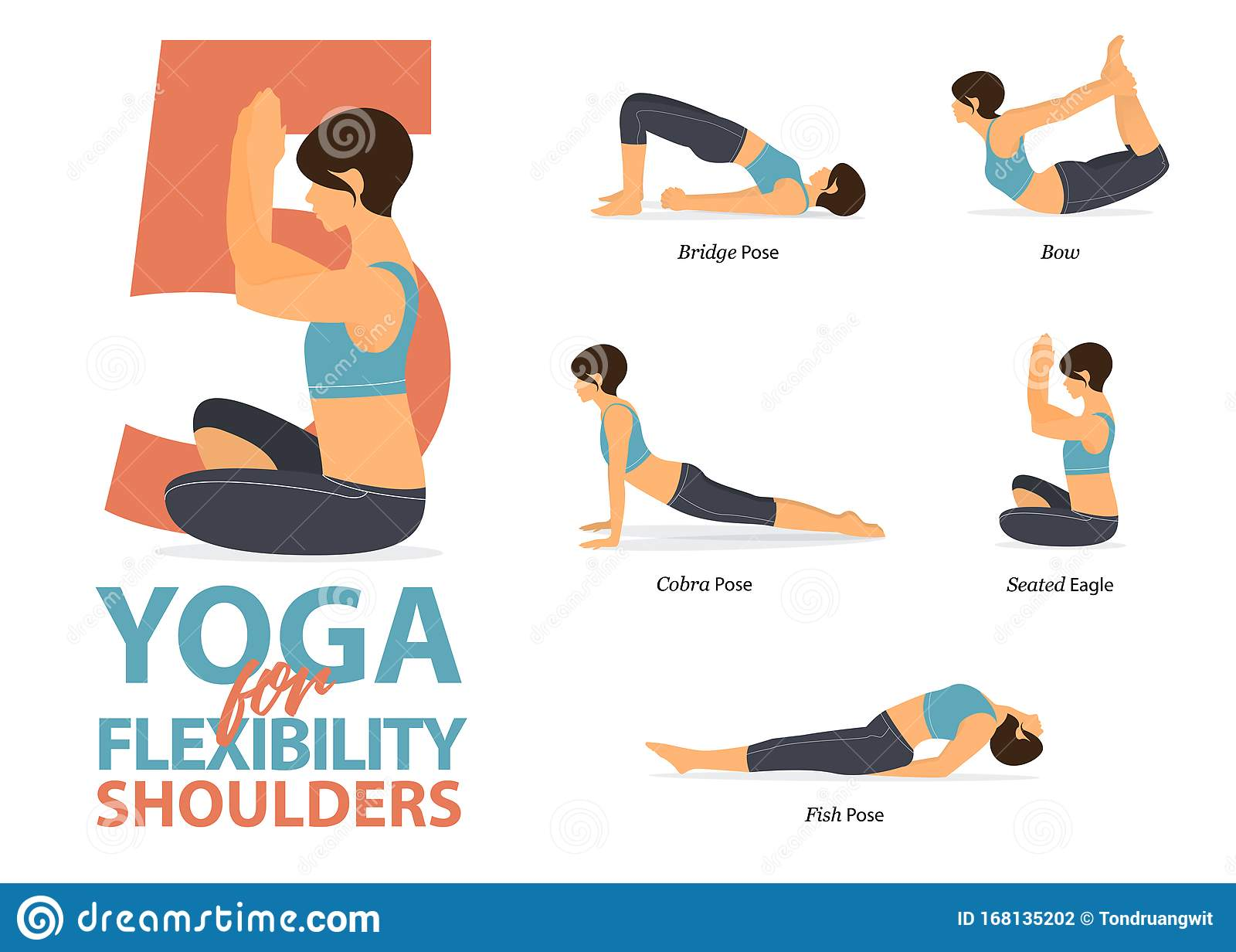 Infographic Of 50 Yoga Poses For Shoulders Flexibility In Flat ...