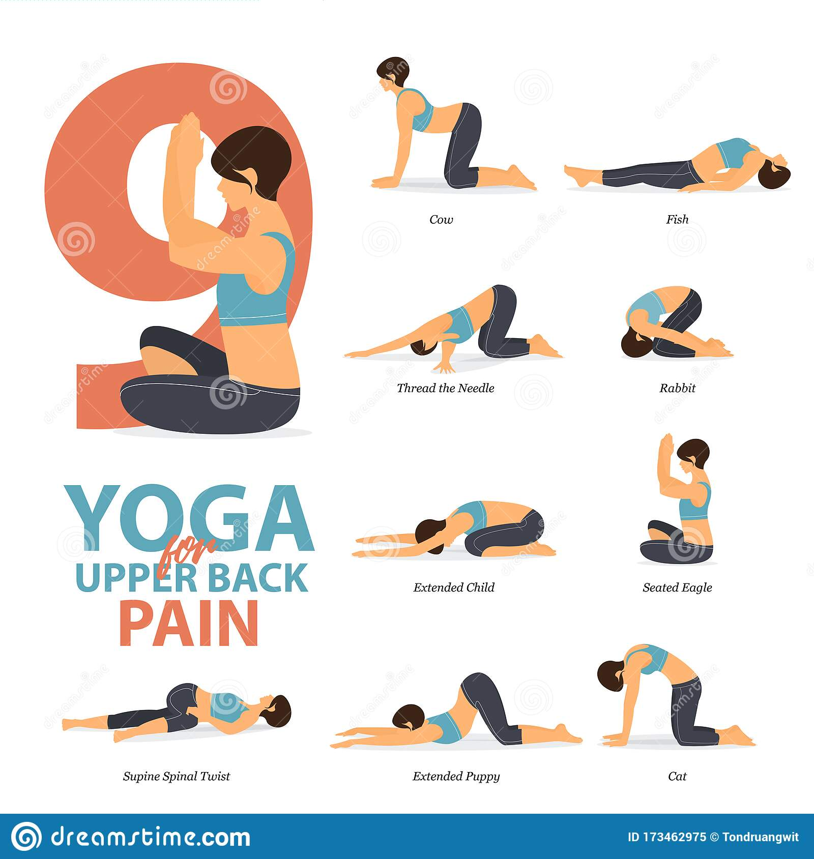 Infographic of 20 Yoga Poses for Upper Back Pains in Flat Design ...