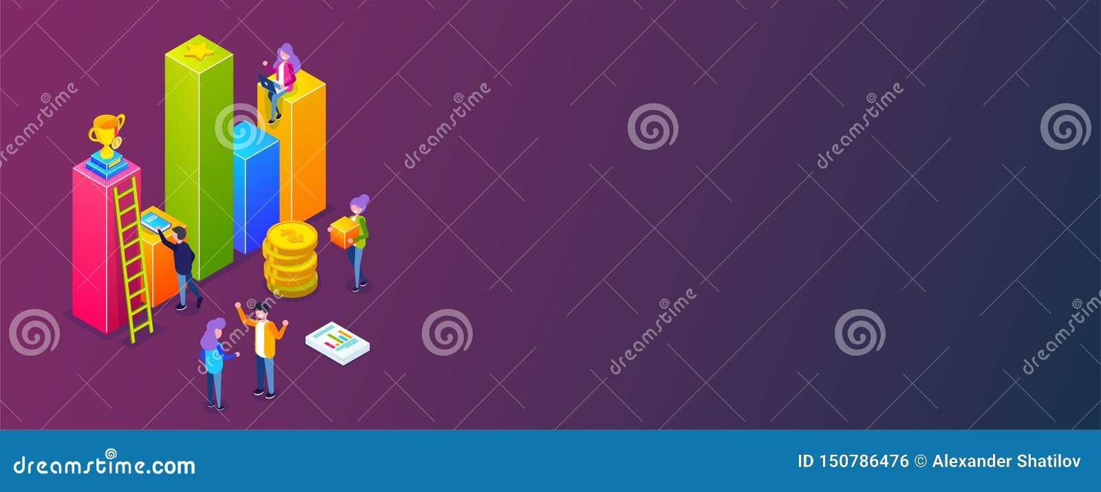 Infographic zaken of de groeigrafiek de kleine mensen bouwen een bedrijfsproces Bespreking van plannen voor zaken