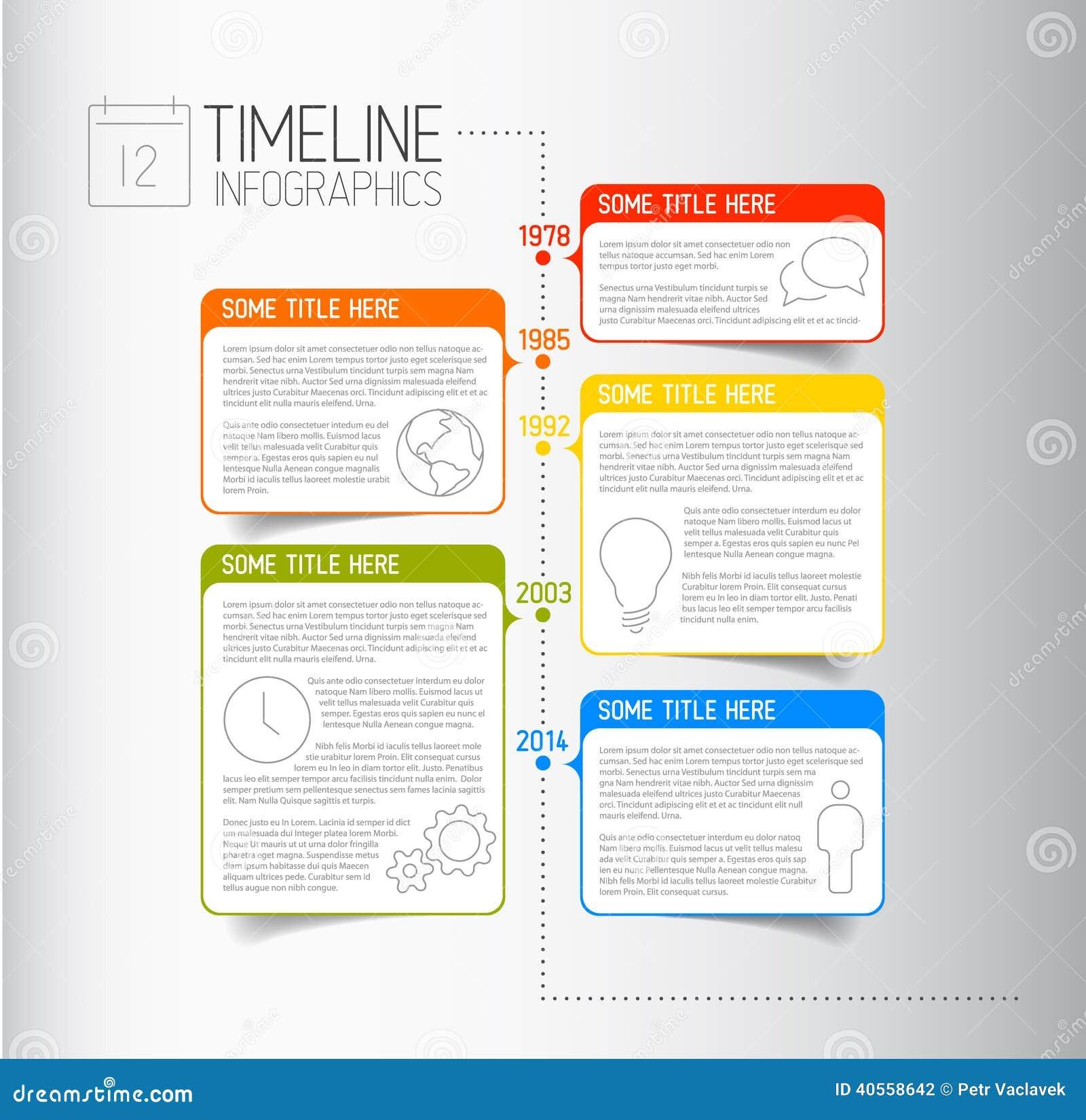 Infographic-Zeitachse-Berichtsschablone mit beschreibenden Blasen