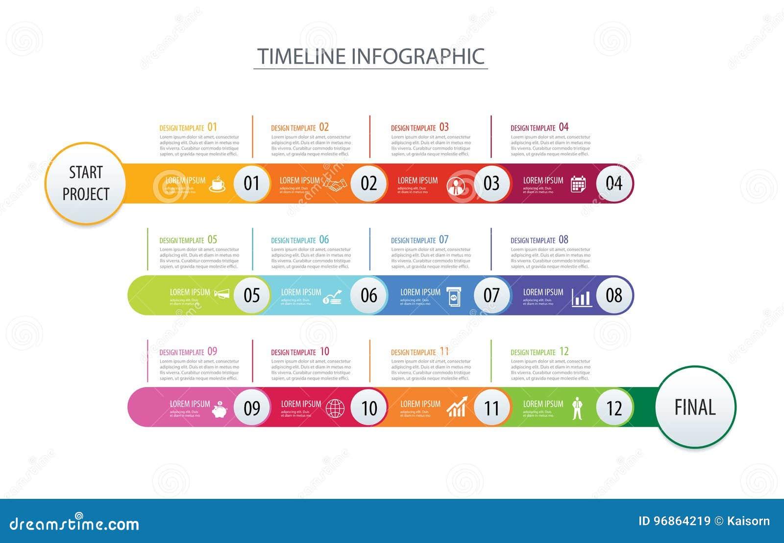 Infographicchronologie 1 van het bedrijfs jaarmalplaatje conceptenpijlen Vec