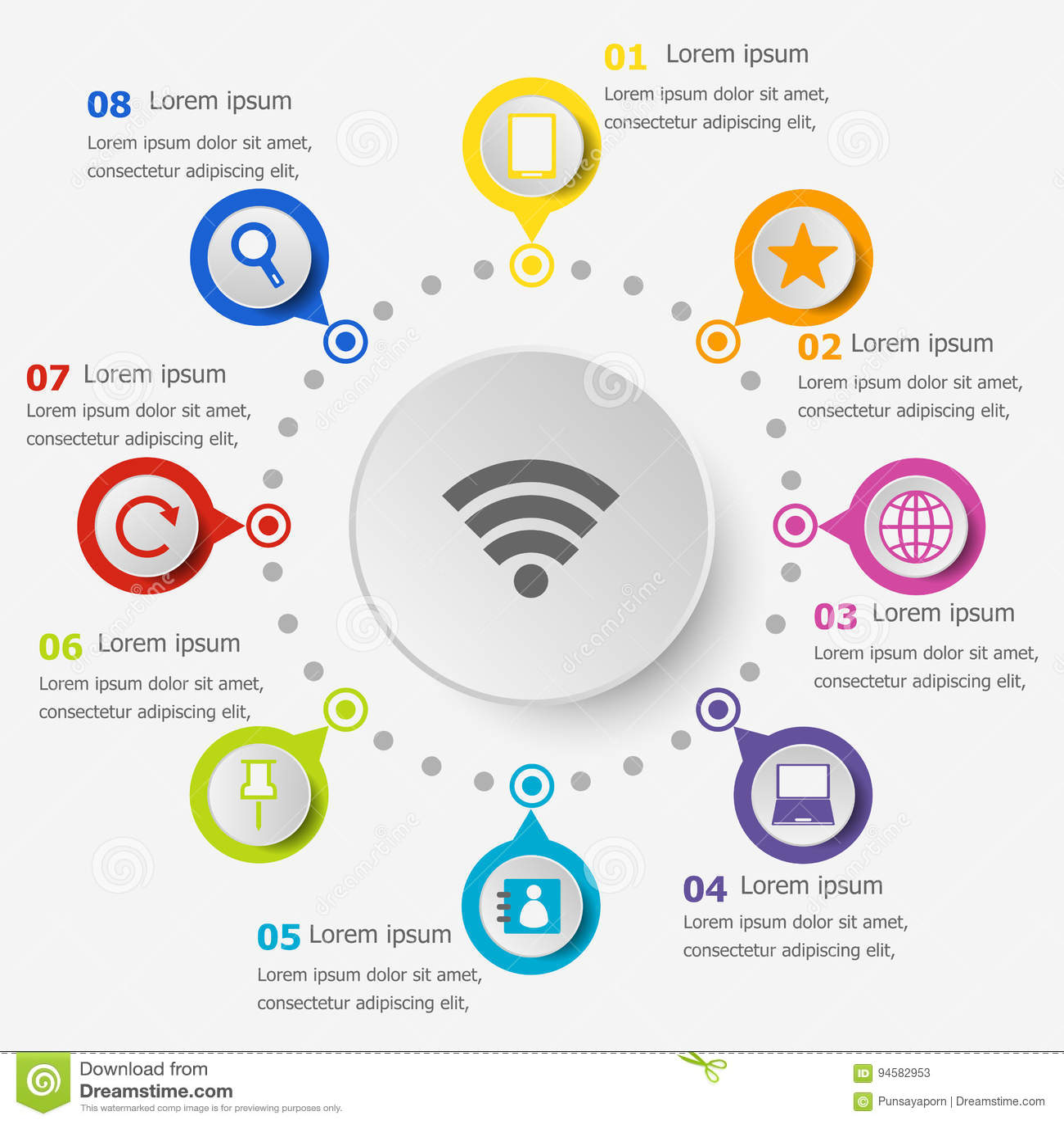 Infographicmalplaatje met Internet-pictogrammen