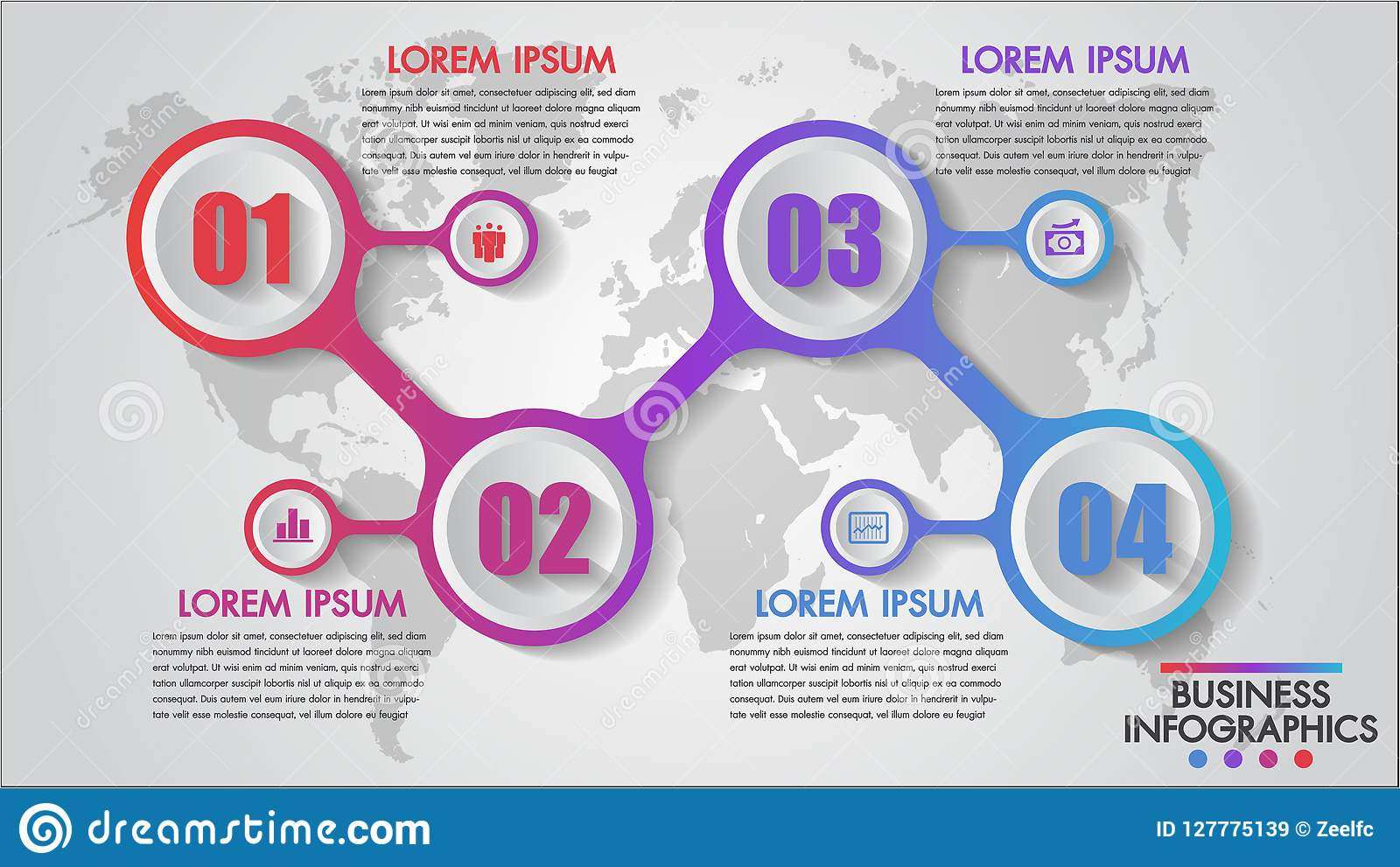 Infographics企业4步概念模板,教育,网络设计,横幅,小册子,数字选择,图,飞行物