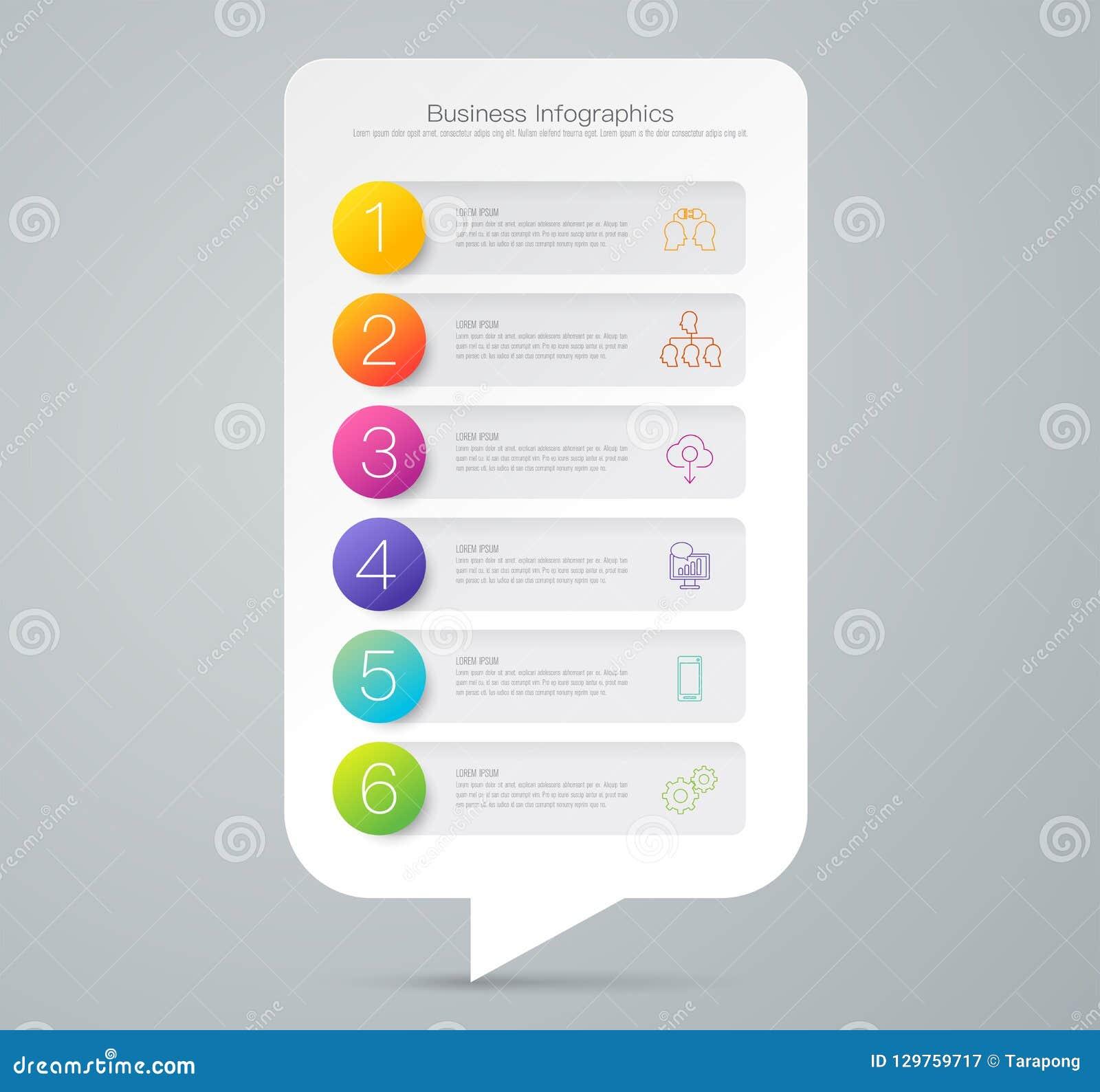 Infographics设计与6个选择的传染媒介和企业象