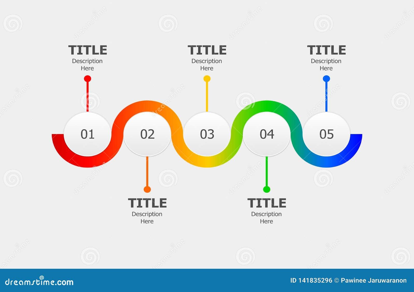 Infographics круга для процесса или прогрессирования 5 шагов