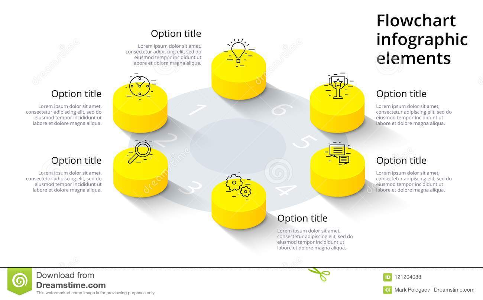 Infographics διαγραμμάτων επιχειρησιακής διαδικασίας με 6 τμήματα βημάτων Isomet