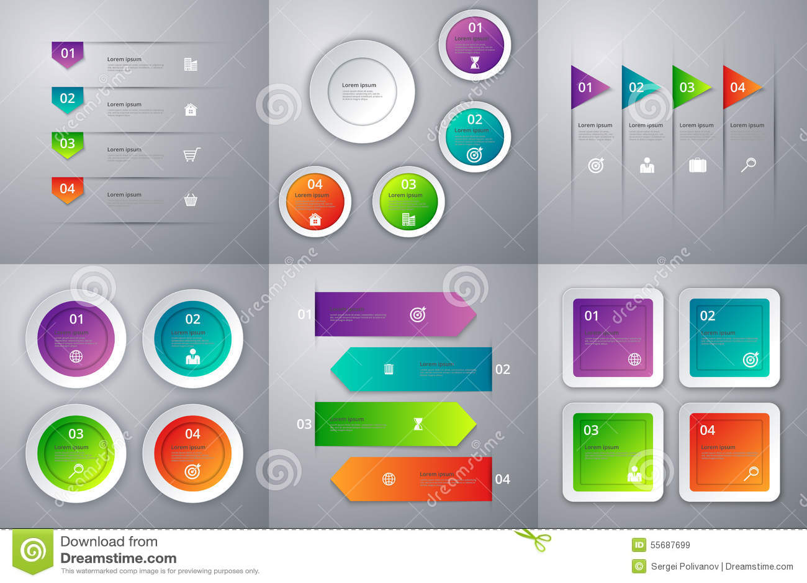 Infographics иллюстрации вектора Комплект 6 красочных шаблонов
