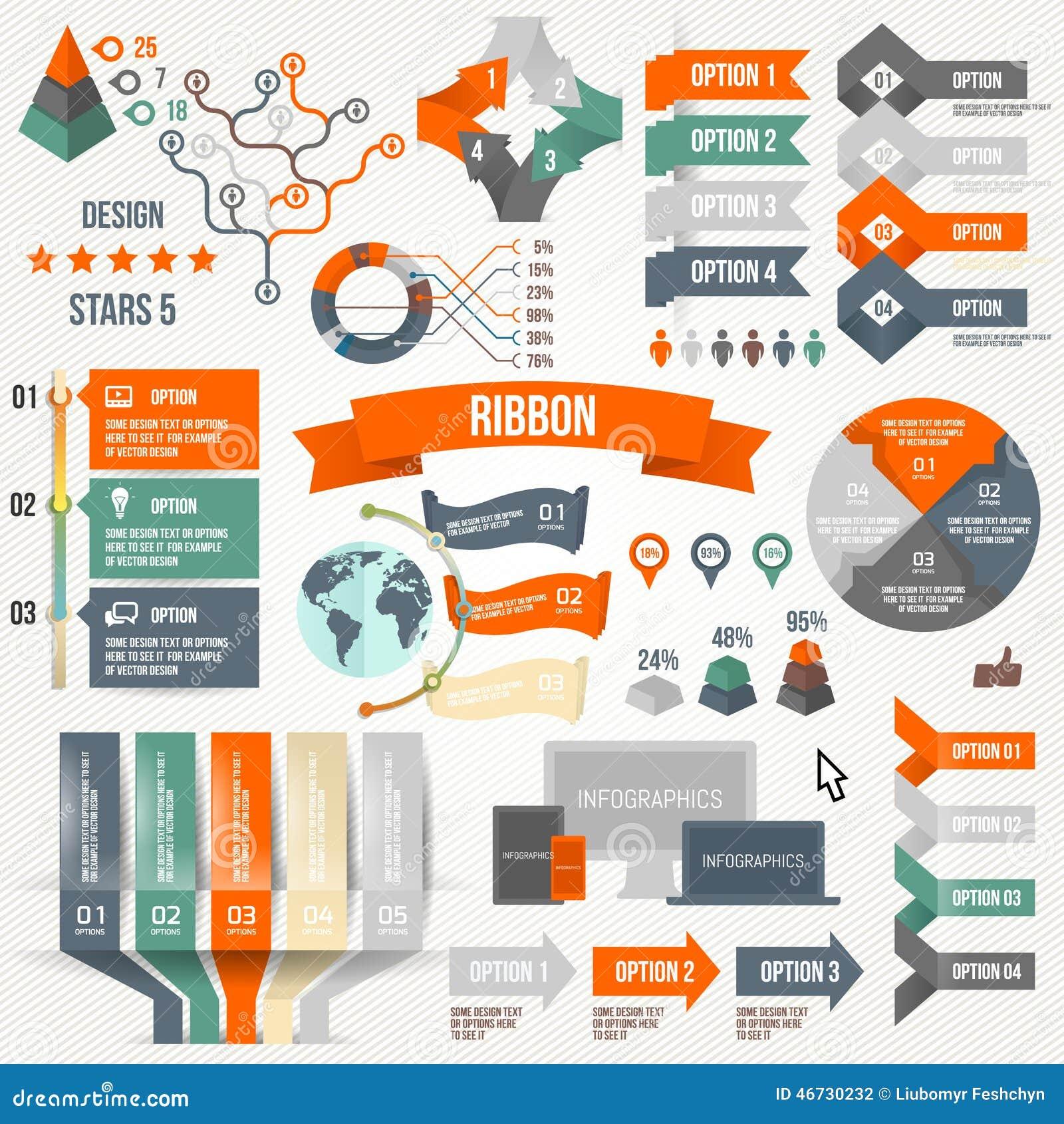 Infographics установило с вариантами Infographic, лента, логотип, значок и 3d Vector элементы Социальная концепция связи