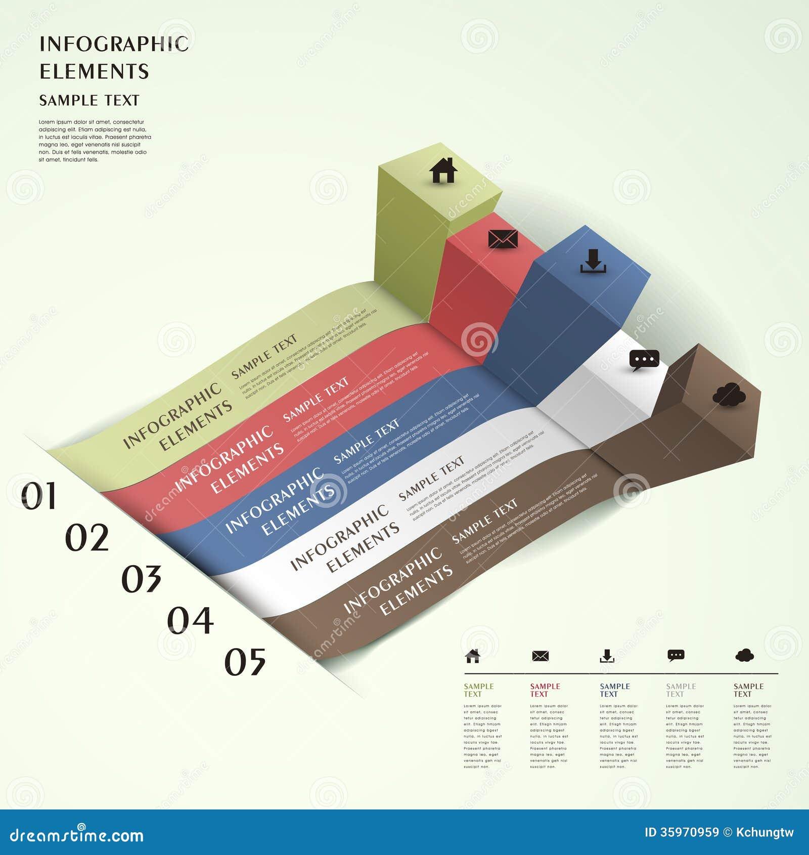 Infographics abstracto de la carta de barra 3d