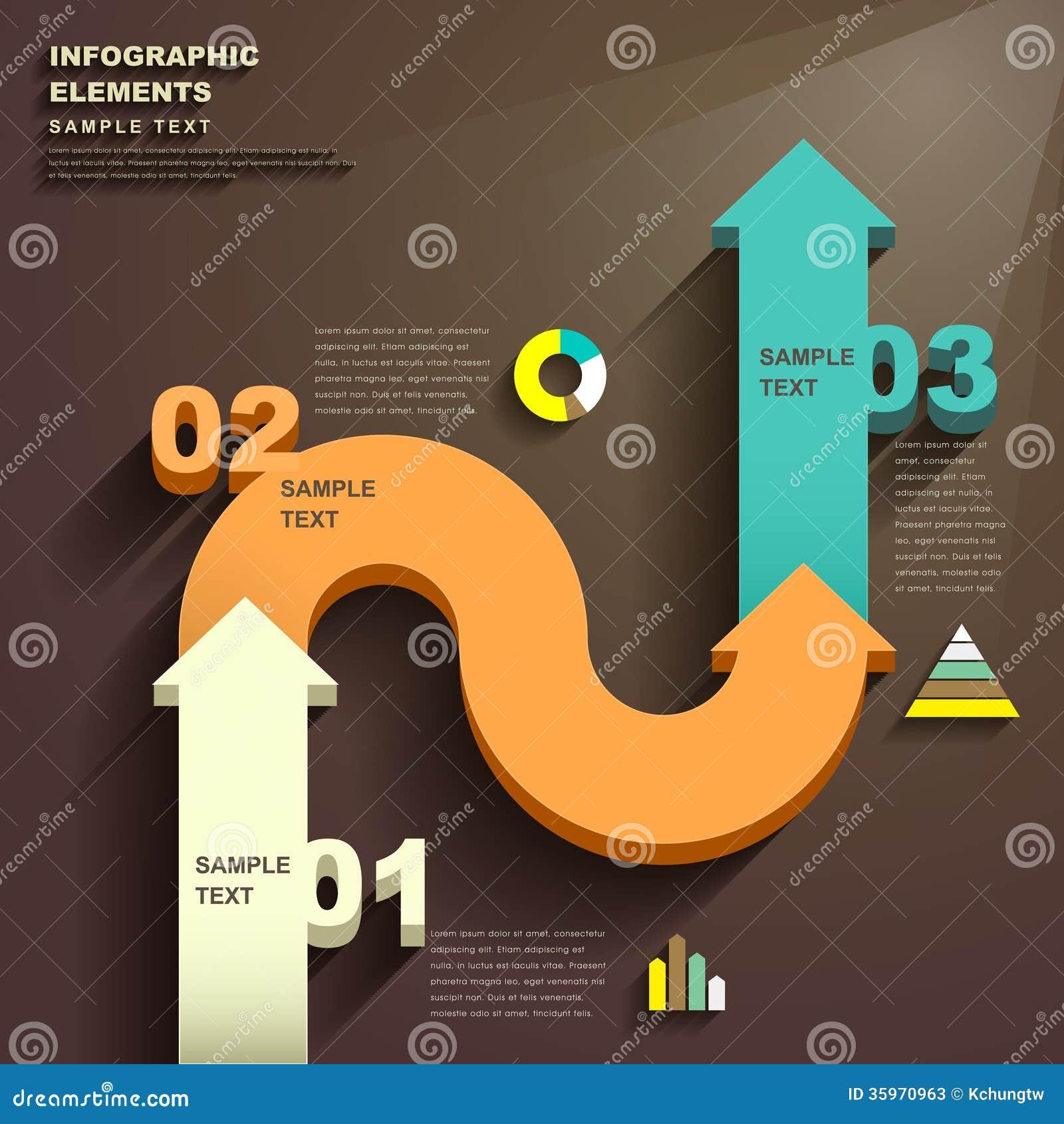 Infographics abstracto de la flecha 3d