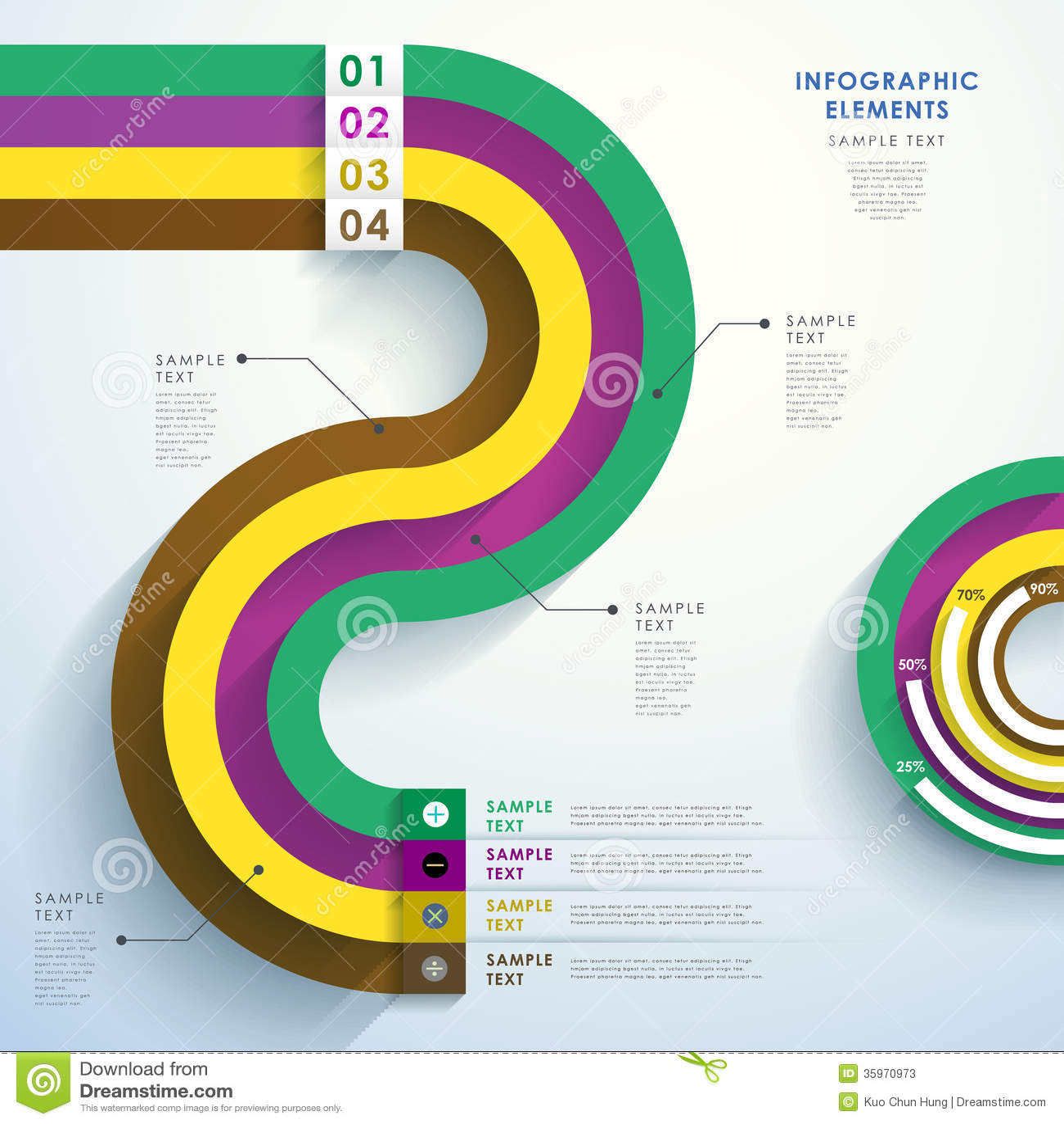 Infographics abstracto del papel 3d