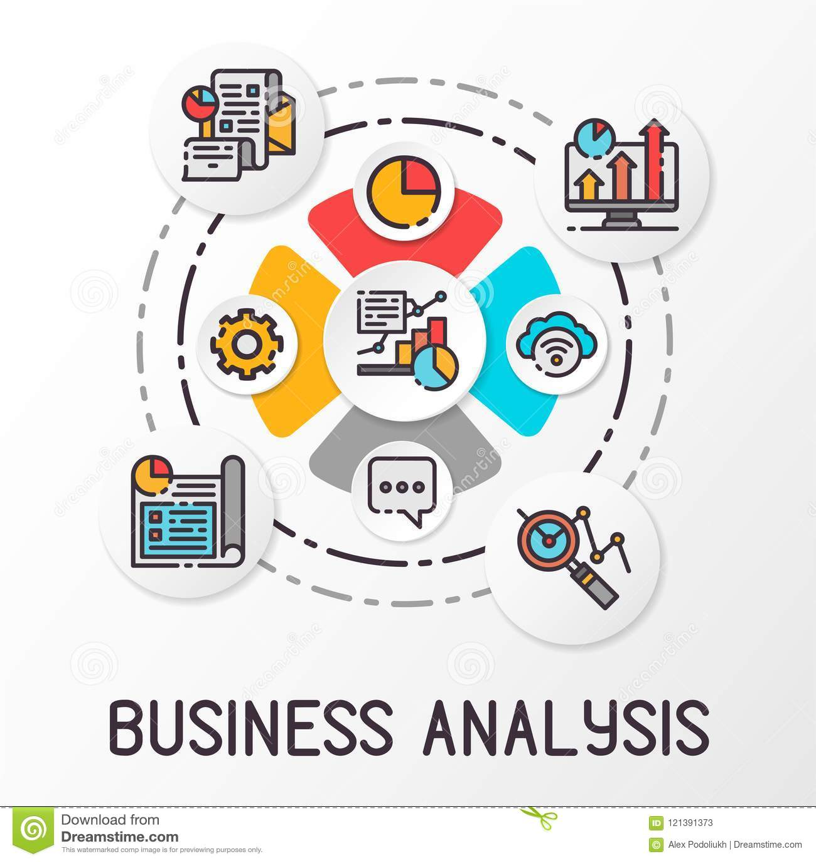 Infographics bedrijfsanalyse die gekleurde pictogrammen gebruiken Financiële de groeigrafiek Vector illustratie