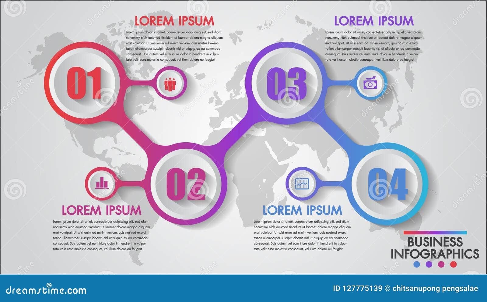 Infographics biznes 4 kroczy pojęcie szablon, edukacja, sieć projekt, sztandary, broszurki, numerowe opcje, diagram, ulotki