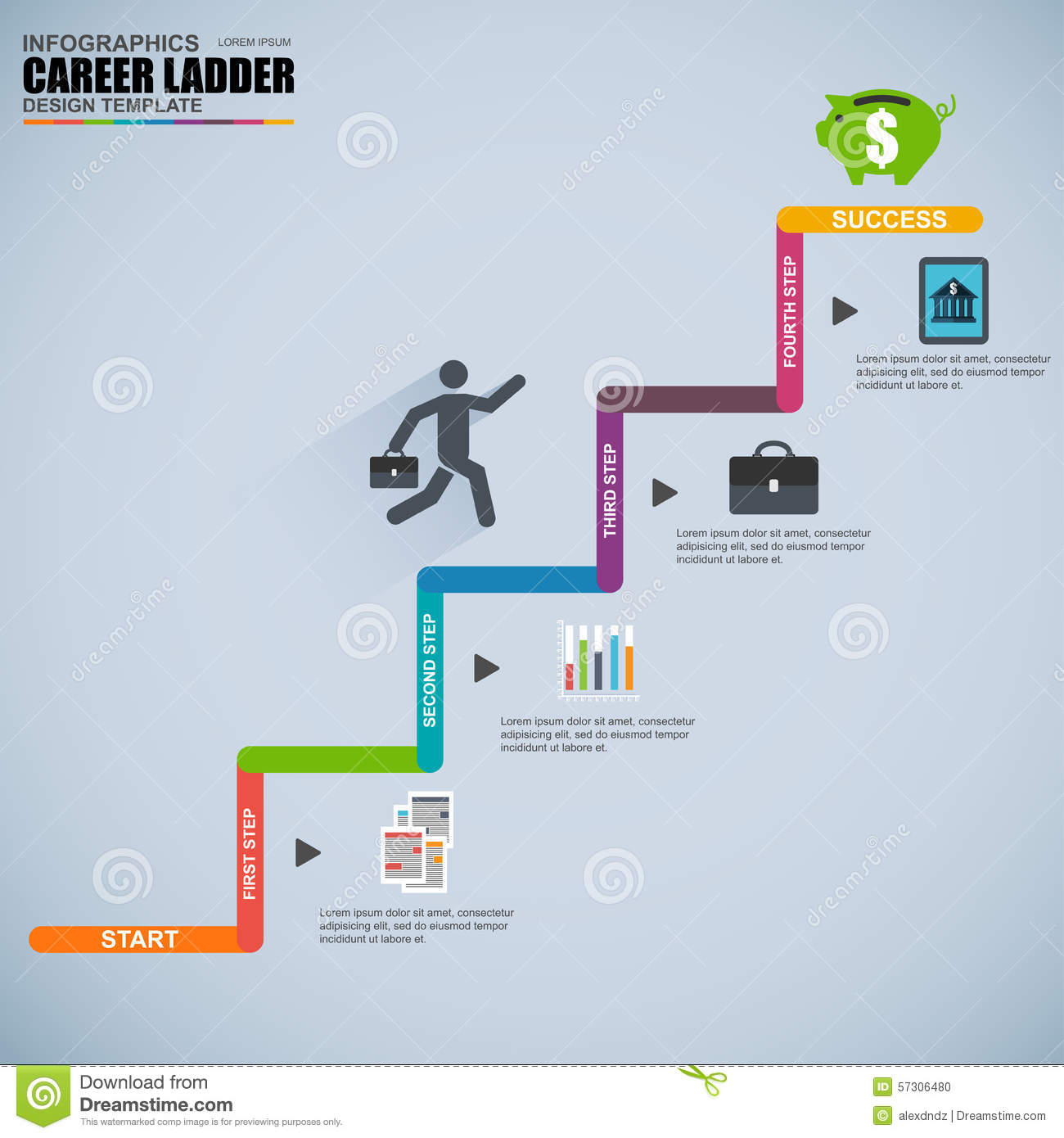 infographics business career ladder vector design template stock