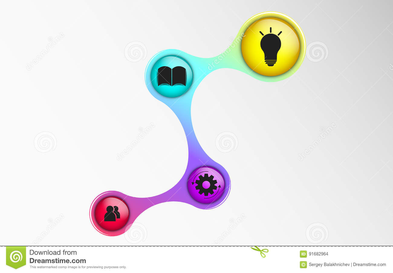 Infographics for business projects. The diagram in 3d style. Iridescent colors. Volumetric, glossy balls with symbols. Business st