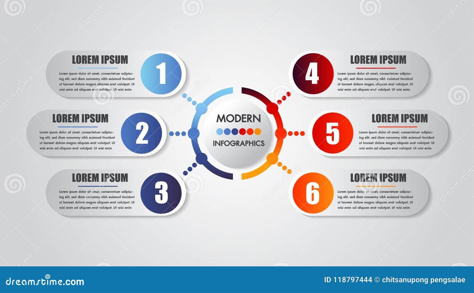 Infographics business 6 steps options concept horizontal timeline process chart template. Vector modern banner
