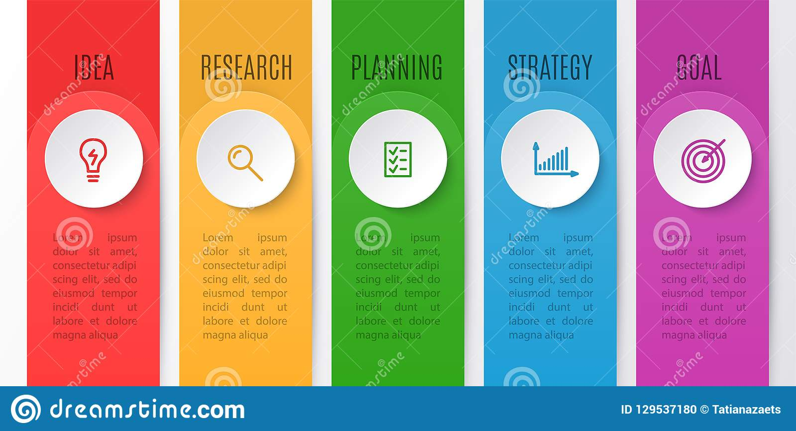 Infographics chart for business creative concept. Timeline with 5 steps. Vector illustration of infographic element for