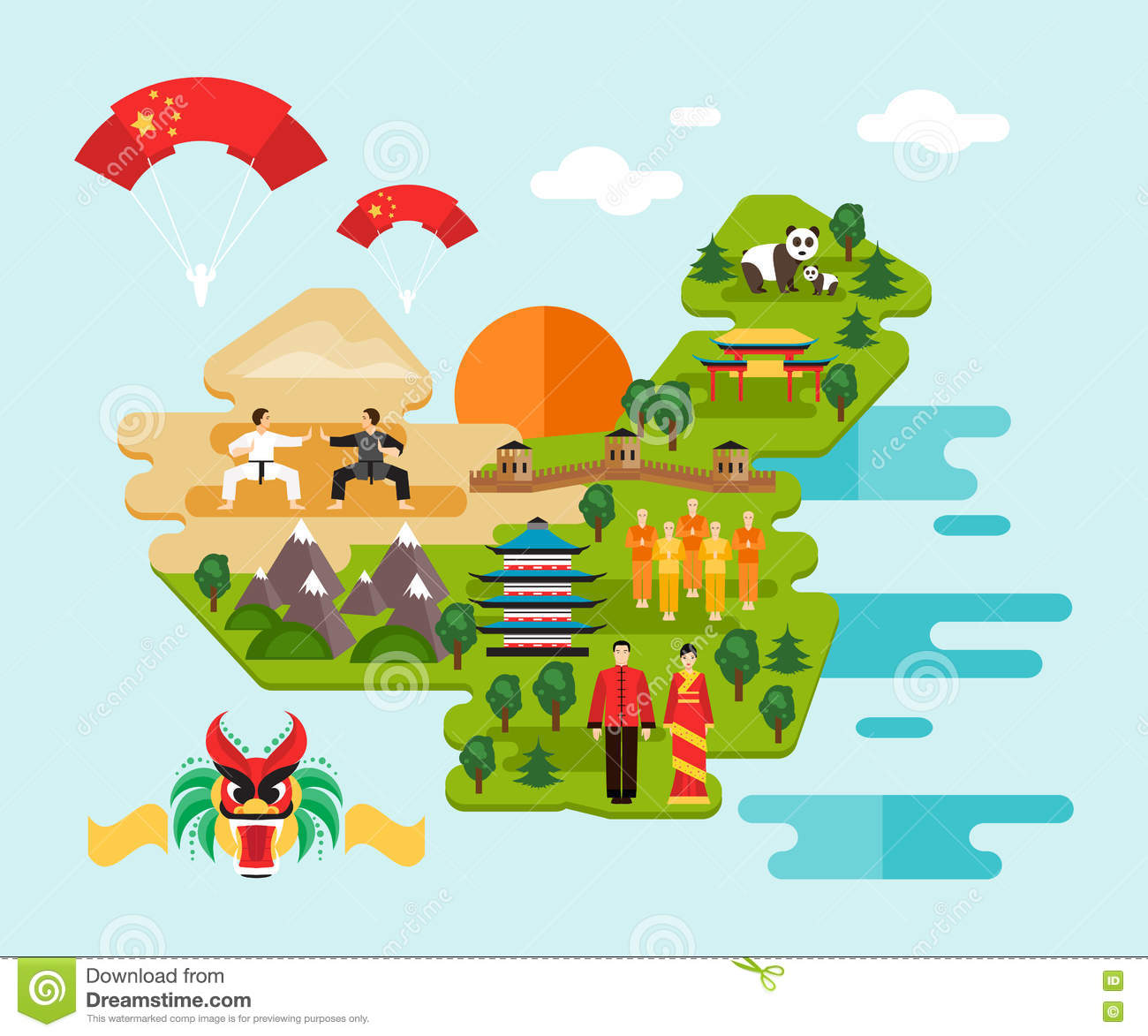 Infographics About China Vector Illustration Stock Vector