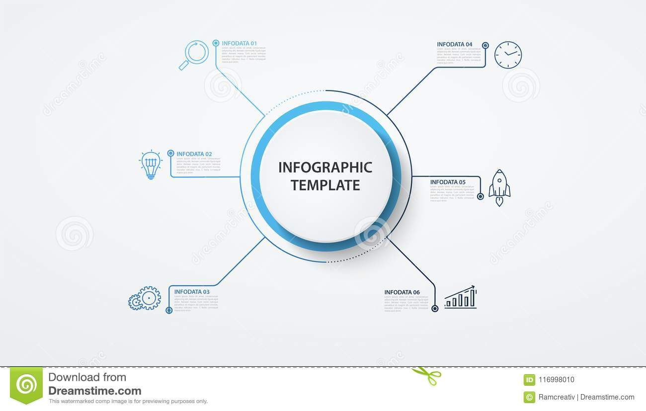 Infographics circles with lines 6 options or steps. Business concept, block  diagram, information