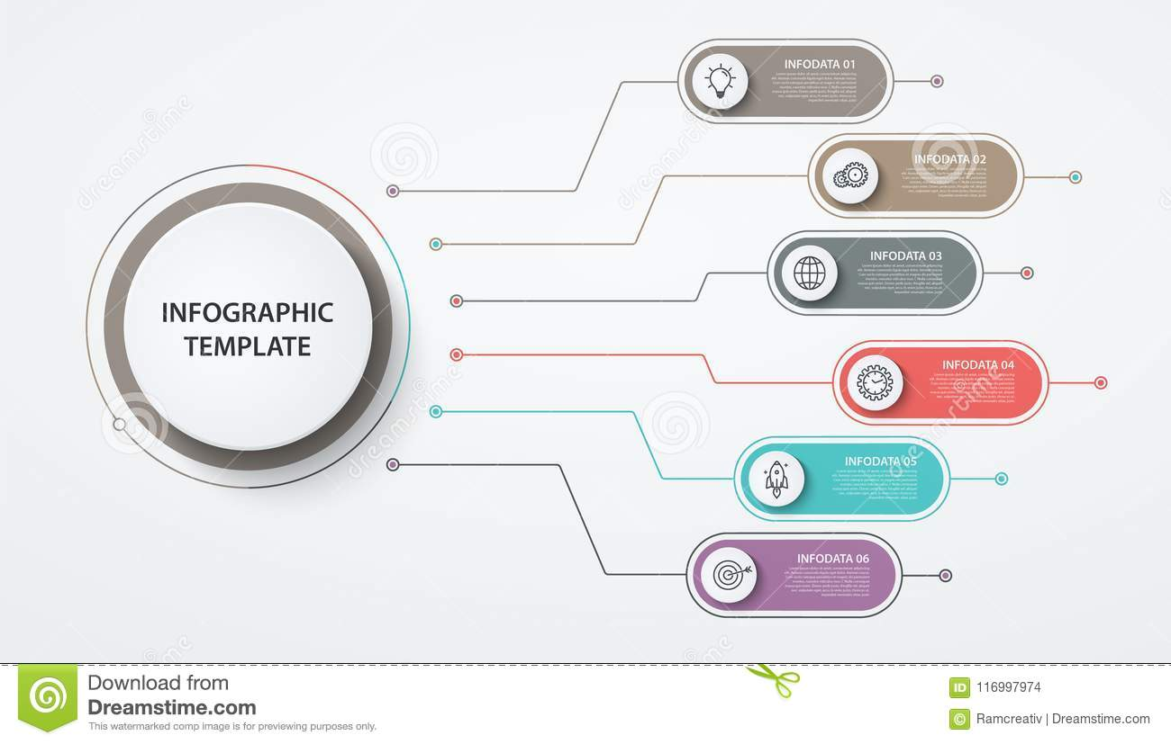 Infographics Circles 6 Options Or Steps Business Concept Block