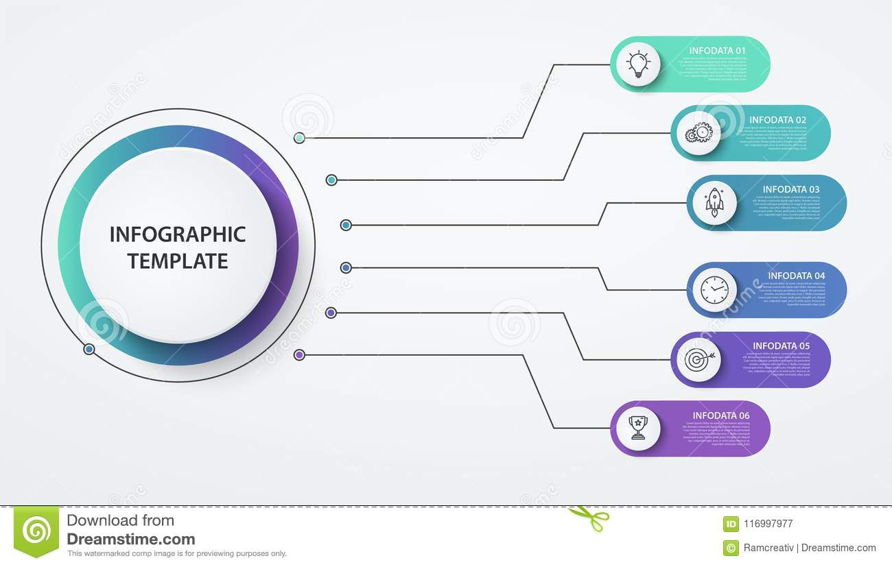 Infographics circles 6 options or steps. Business concept, block diagram,  information graph, pie chart processes. Illustration