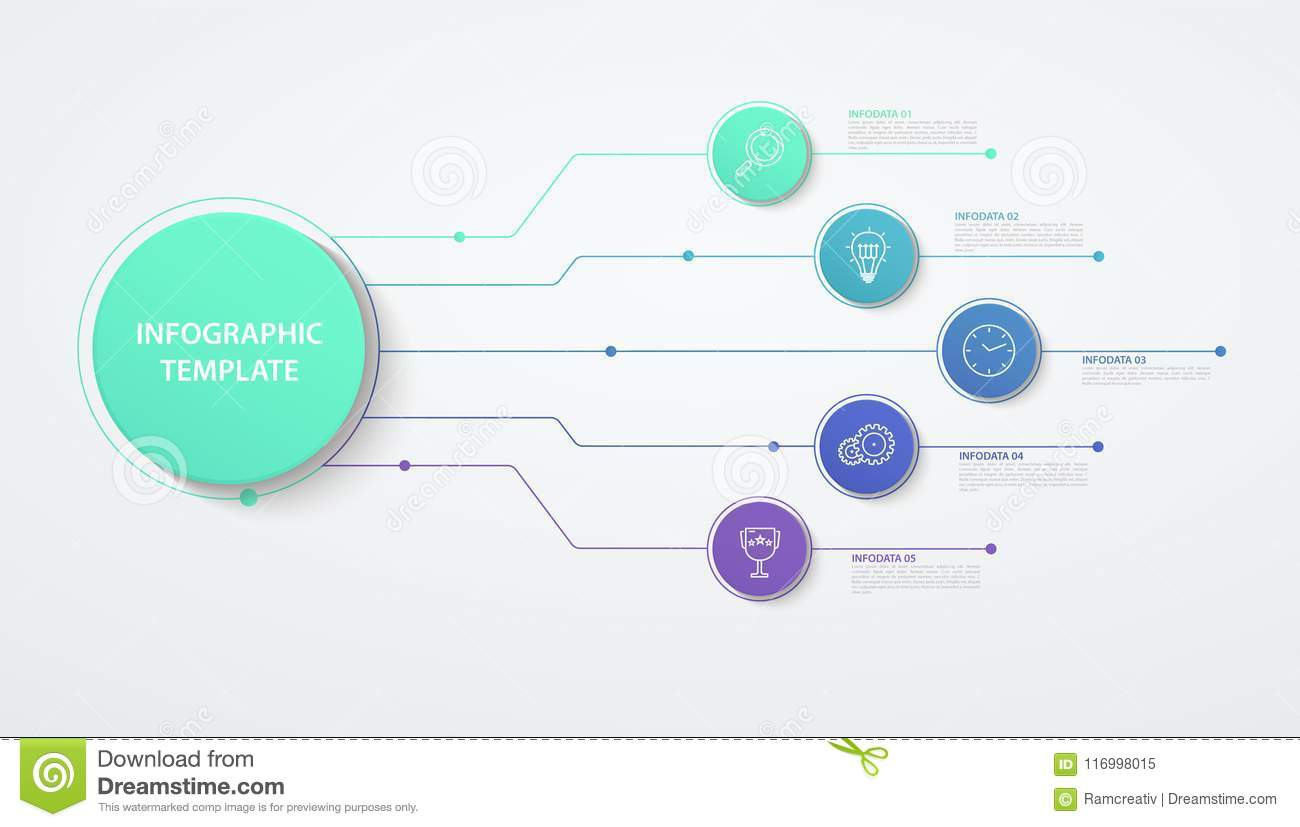 Infographics Circles 5 Options Or Steps Business Concept Block