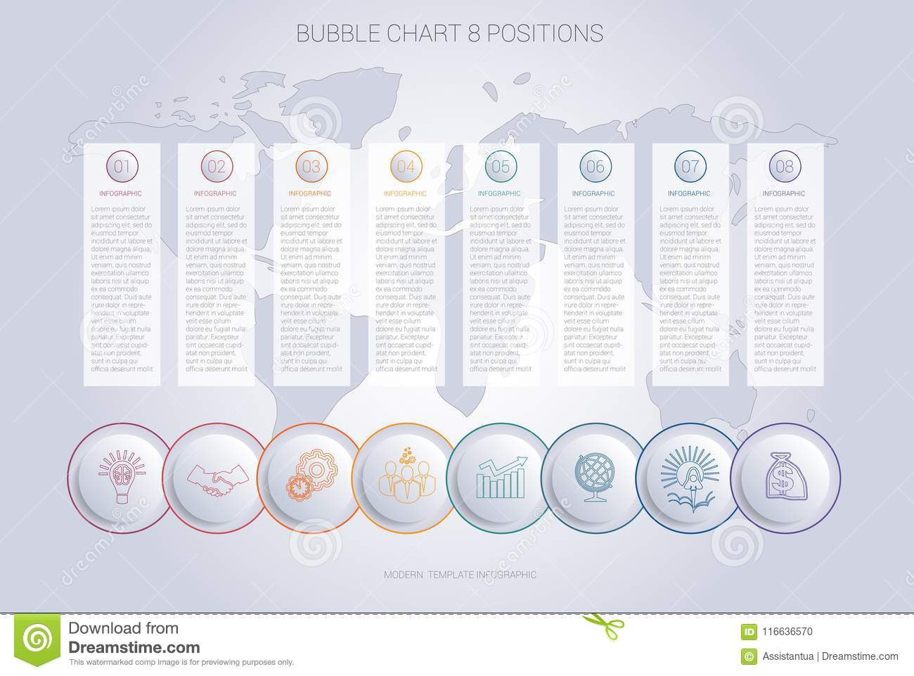 Infographics Color Bubble Chart Template For 8 Positions Stock
