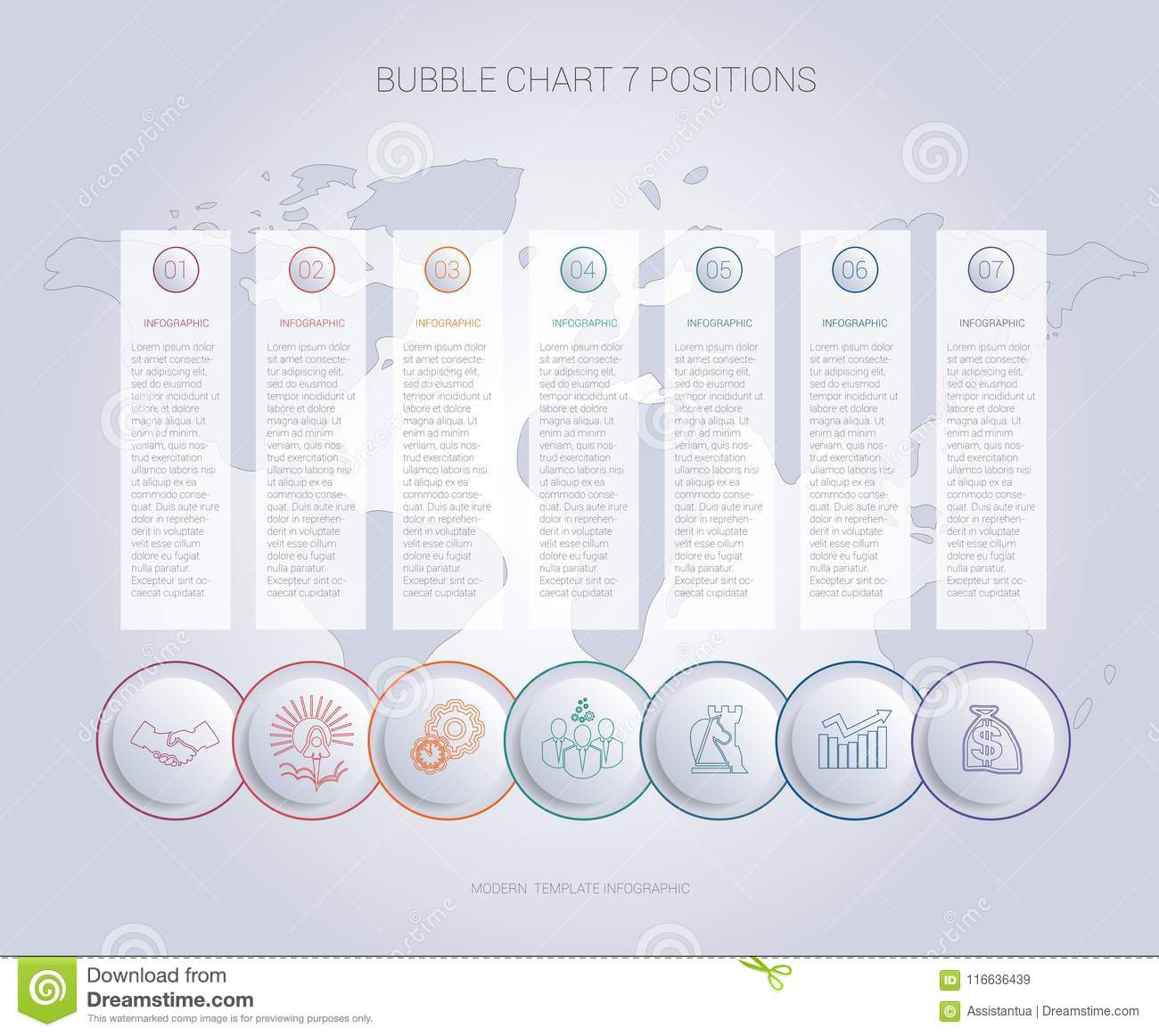 Infographics Color Bubble Chart Template For 7 Positions Stock