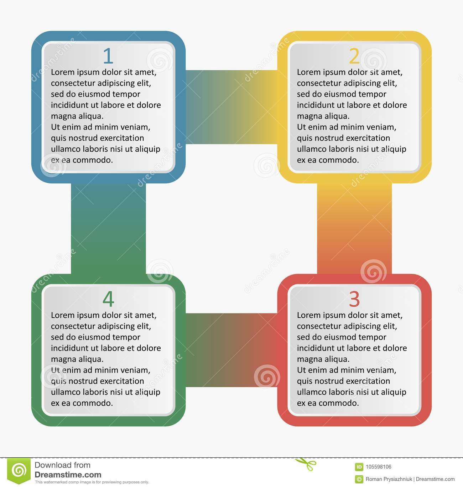 Infographics con los cuadrados redondeados Plantilla del negocio con 4 opciones, porciones, pasos o procesos Ilustración del vect