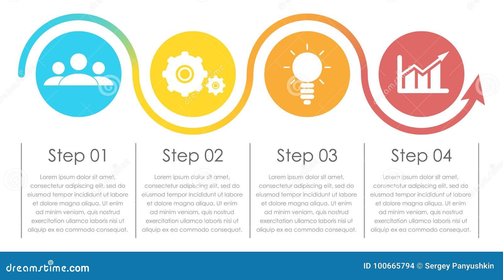 Infographics d affaires avec la flèche Calibre avec 4 éléments, étapes, options