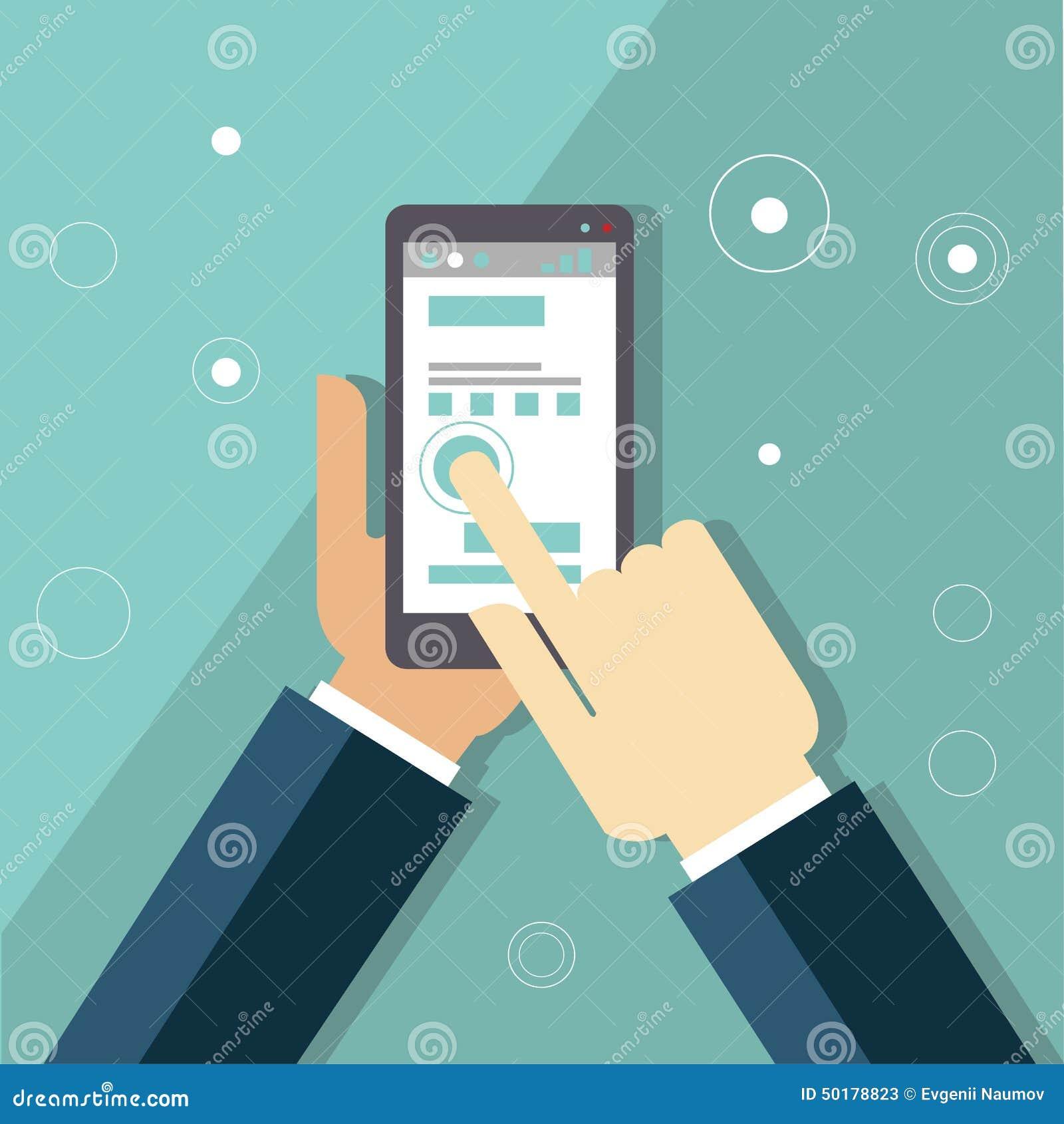 Infographics d apps de Smartphone avec une main tenant a