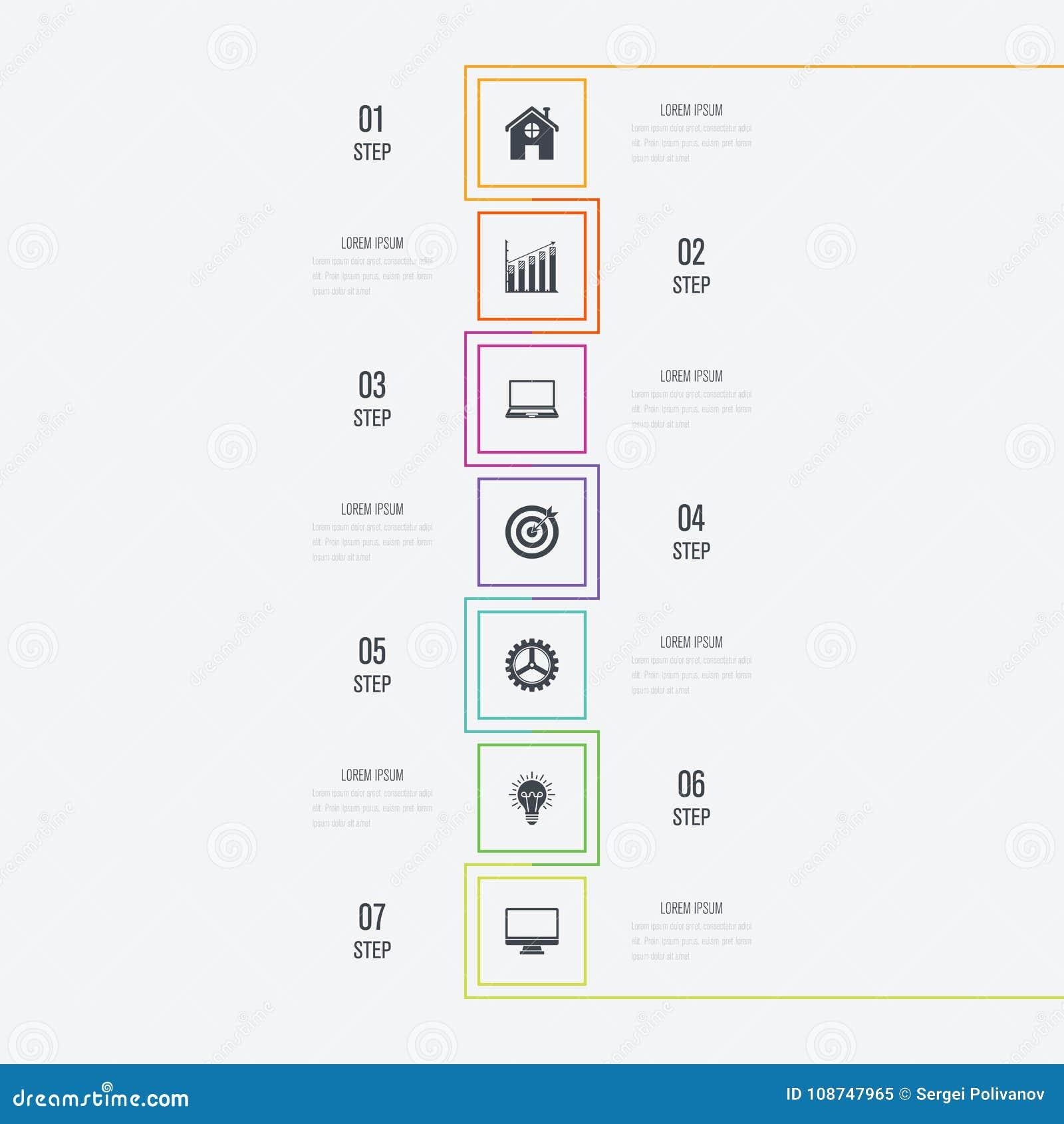 Infographics d illustration de vecteur 7 options