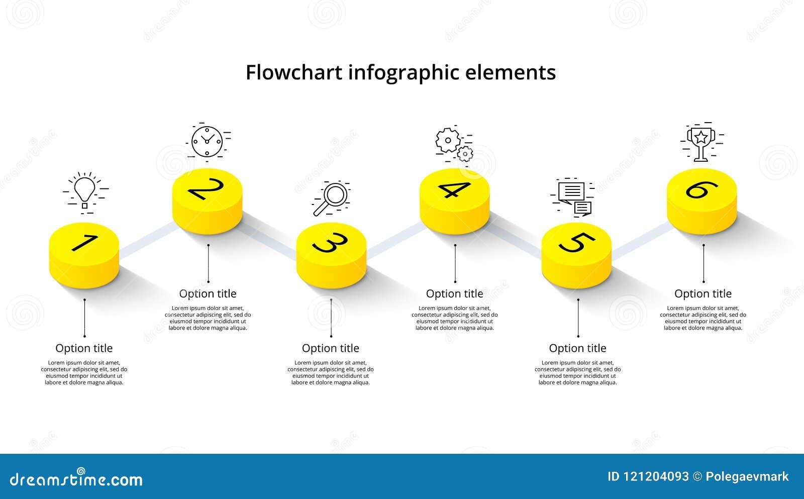 Infographics da carta de processo de negócios com 6 segmentos da etapa Isomet