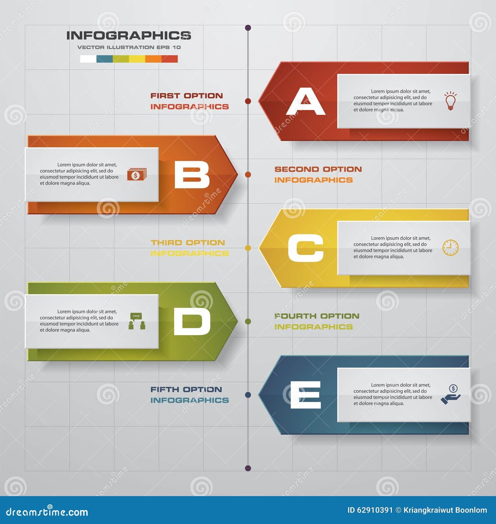 Infographics de chronologie, 5 éléments d étapes et icônes Calibre propre de bannières de nombre de conception