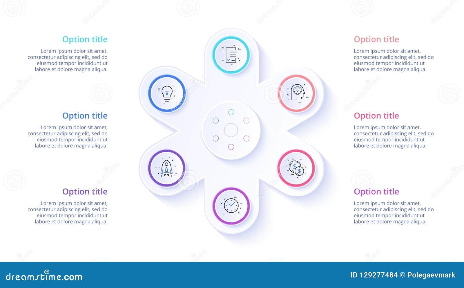 Infographics de diagramme de processus d affaires avec 6 segments d étape Circul