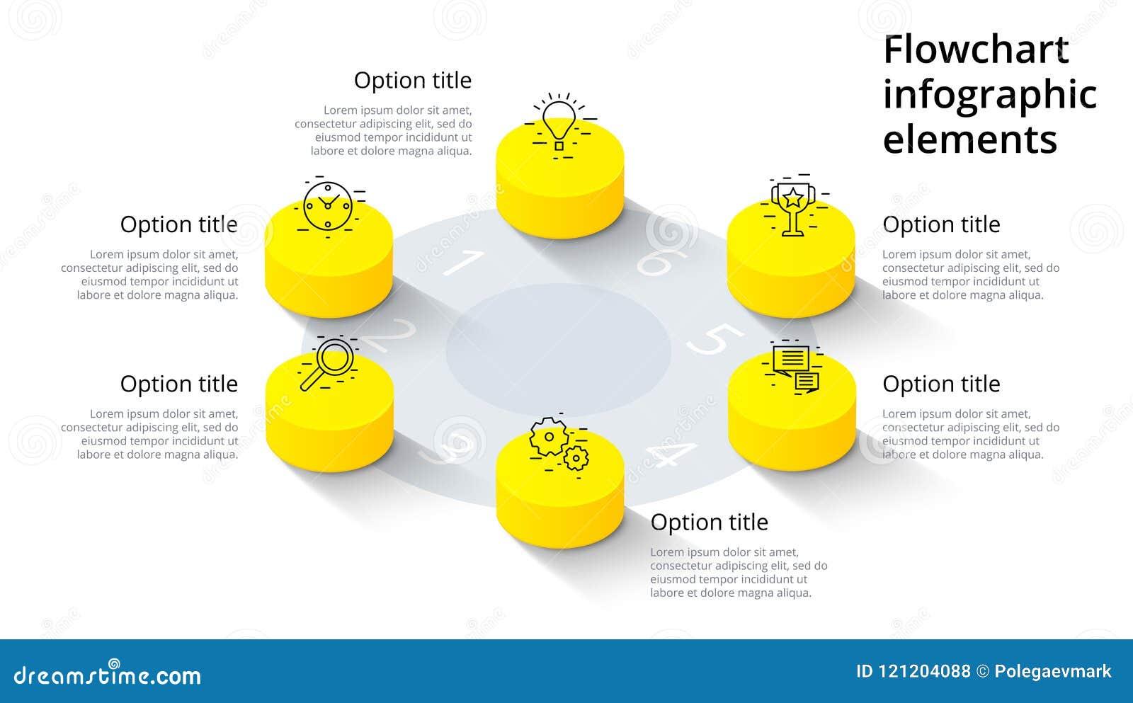 Infographics de diagramme de processus d affaires avec 6 segments d étape Isomet
