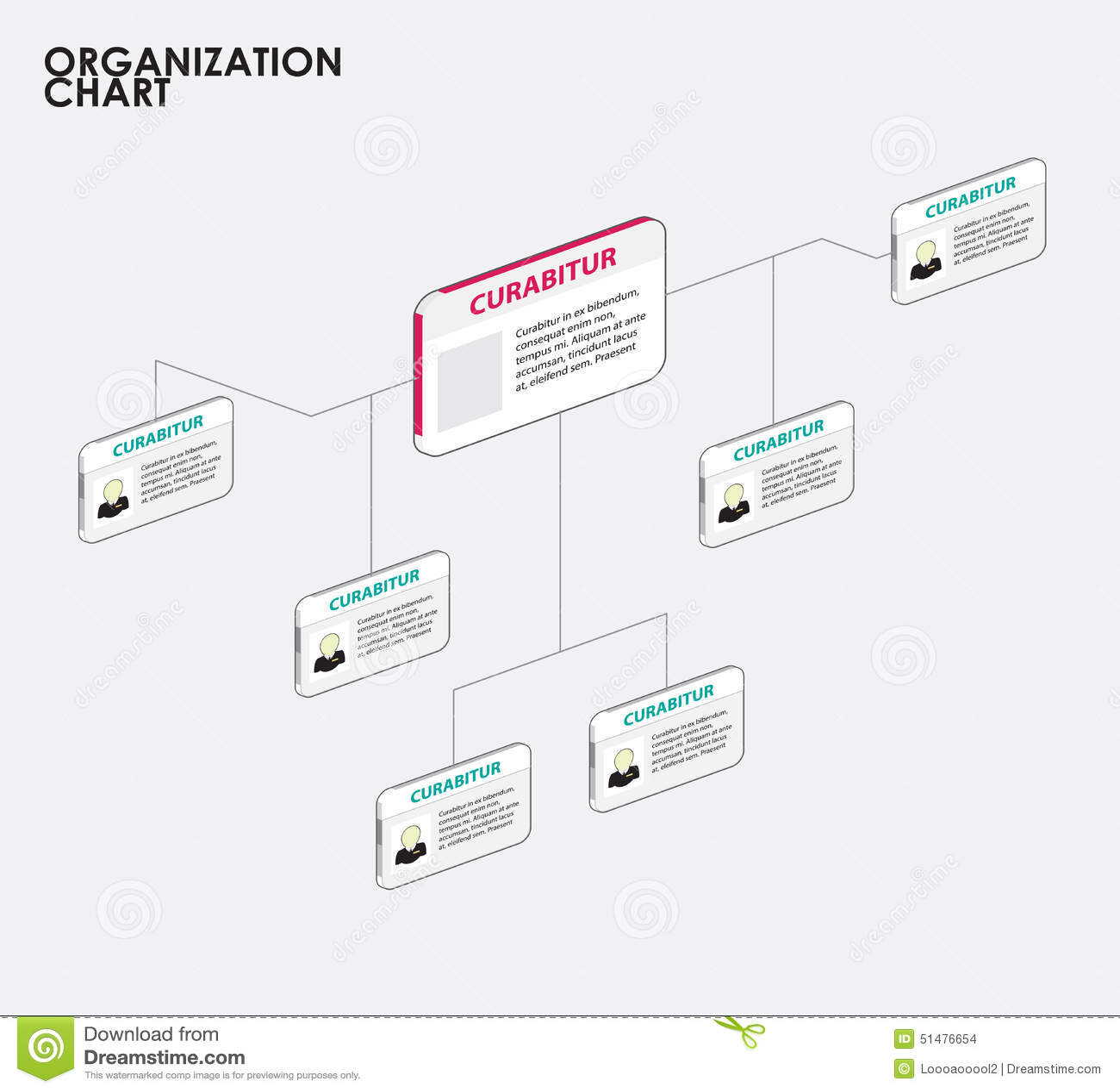 Infographics de la carta de organización con el árbol Ilustración del vector