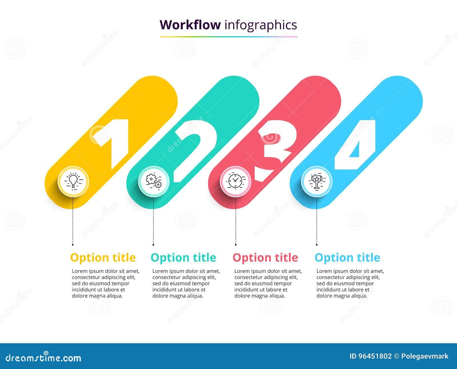 Infographics de la carta de proceso de negocio con 4 círculos del paso Circula