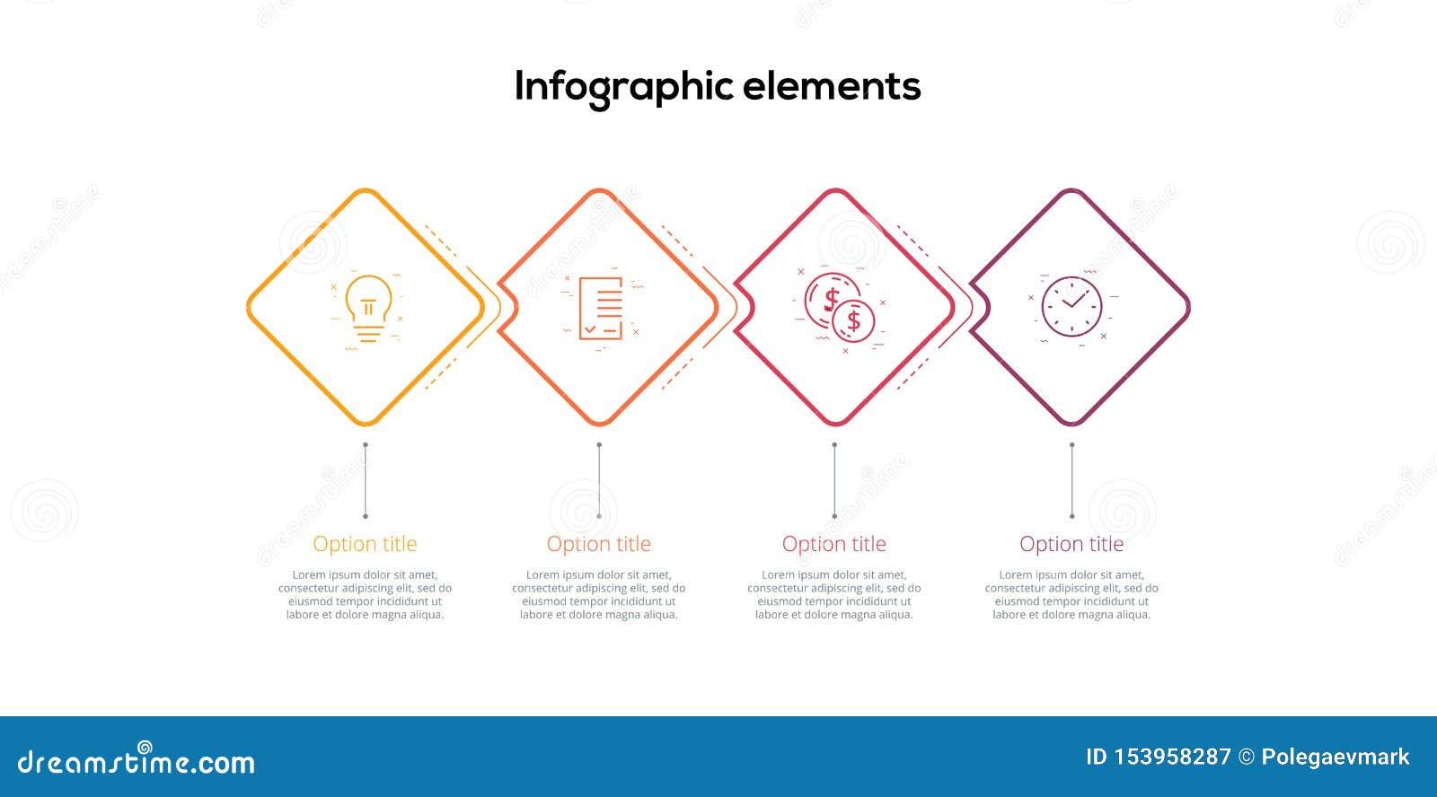 Infographics de la carta de proceso de negocio con 4 rombos del paso Elementos gráficos del flujo de trabajo corporativo del cuad