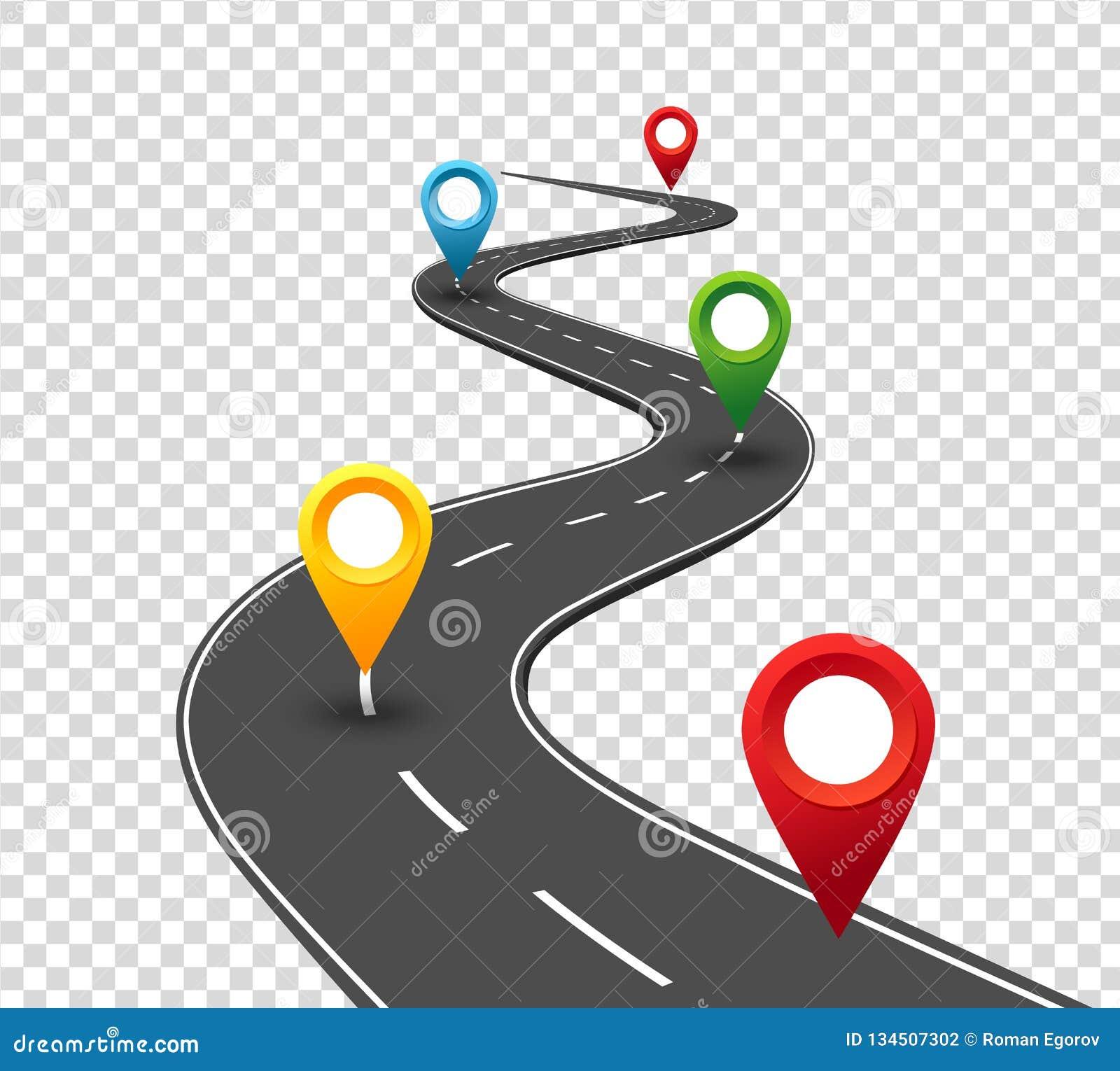 Infographics de route Route d enroulement au succès avec des indicateurs de goupille Manière de voyage d affaires Concept de prog