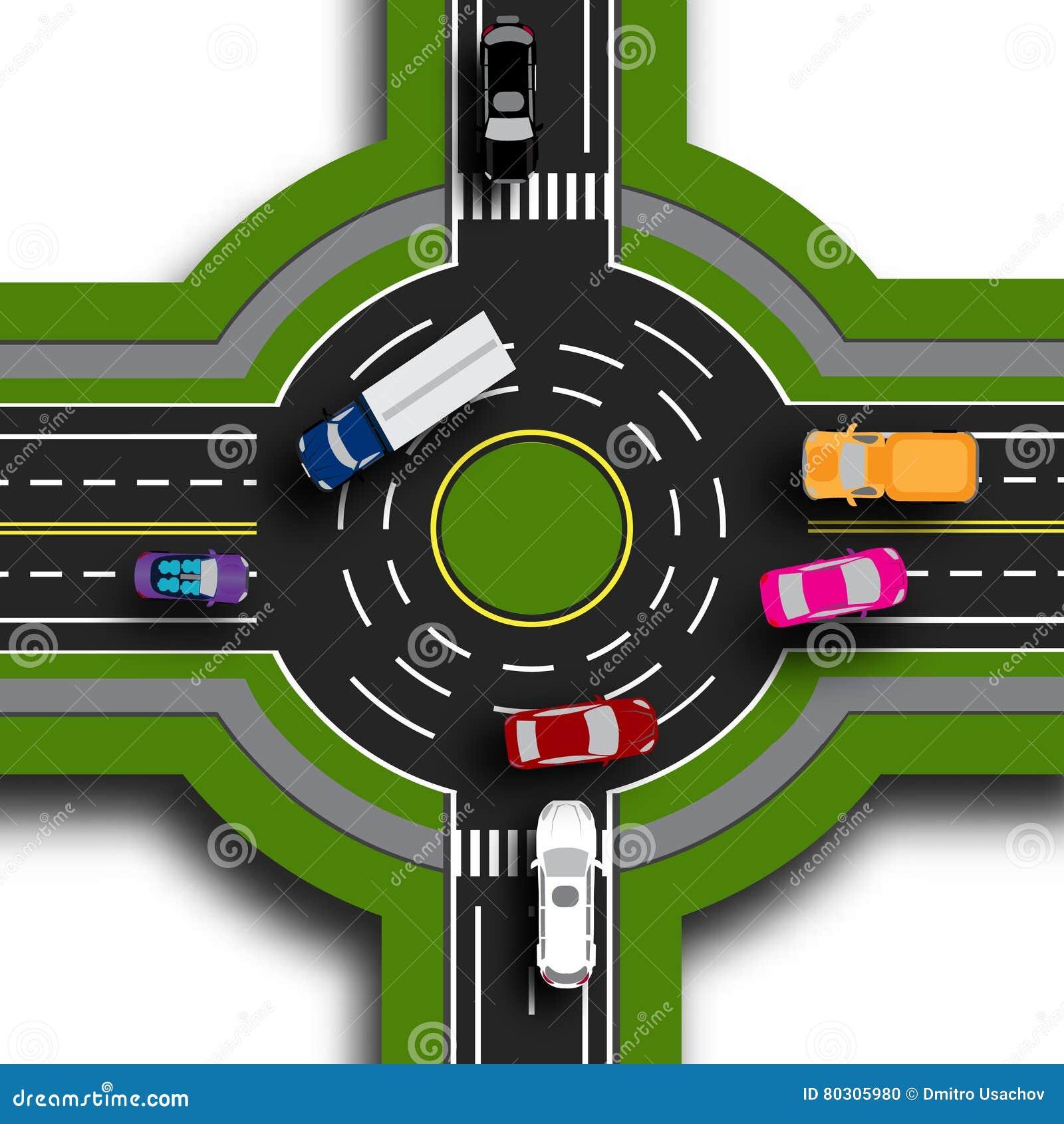 Infographics de route Vue supérieure 3d Échange de route, ronds points Ceci montre le mouvement des voitures Trottoirs et croisem
