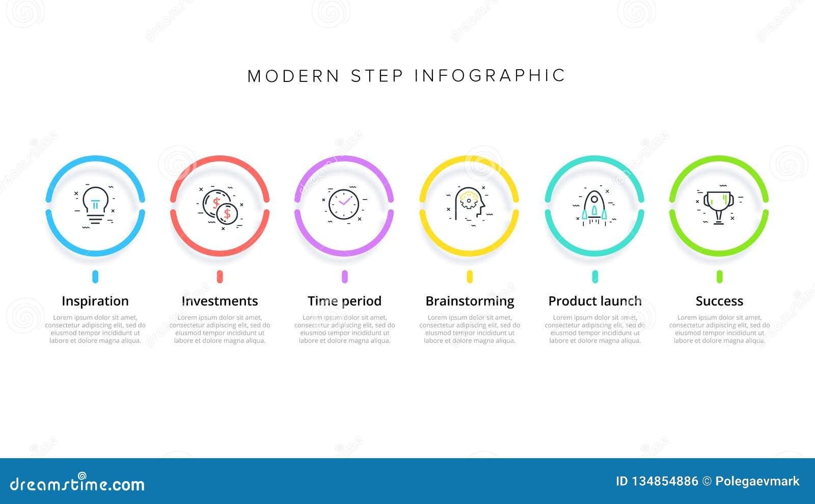 Infographics del grafico di processo aziendale con 6 cerchi di punto Elementi corporativi circolari del grafico di flusso di lavo