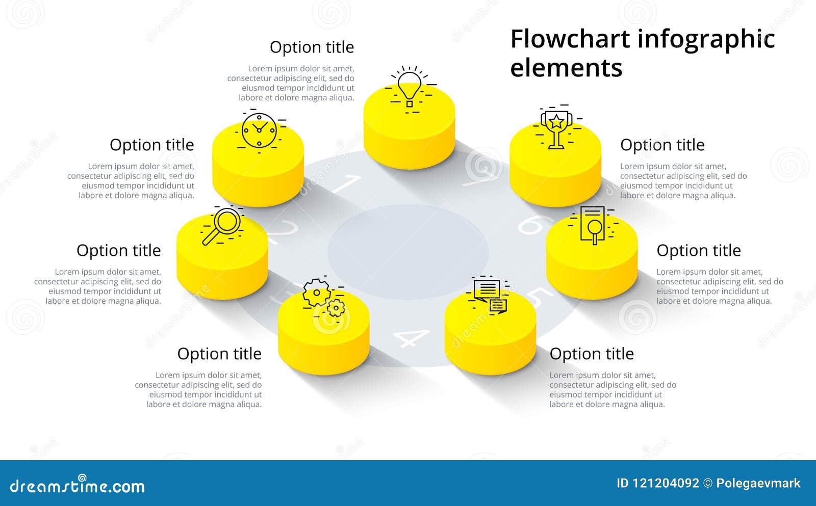 Infographics del grafico di processo aziendale con 7 segmenti di punto Isomet