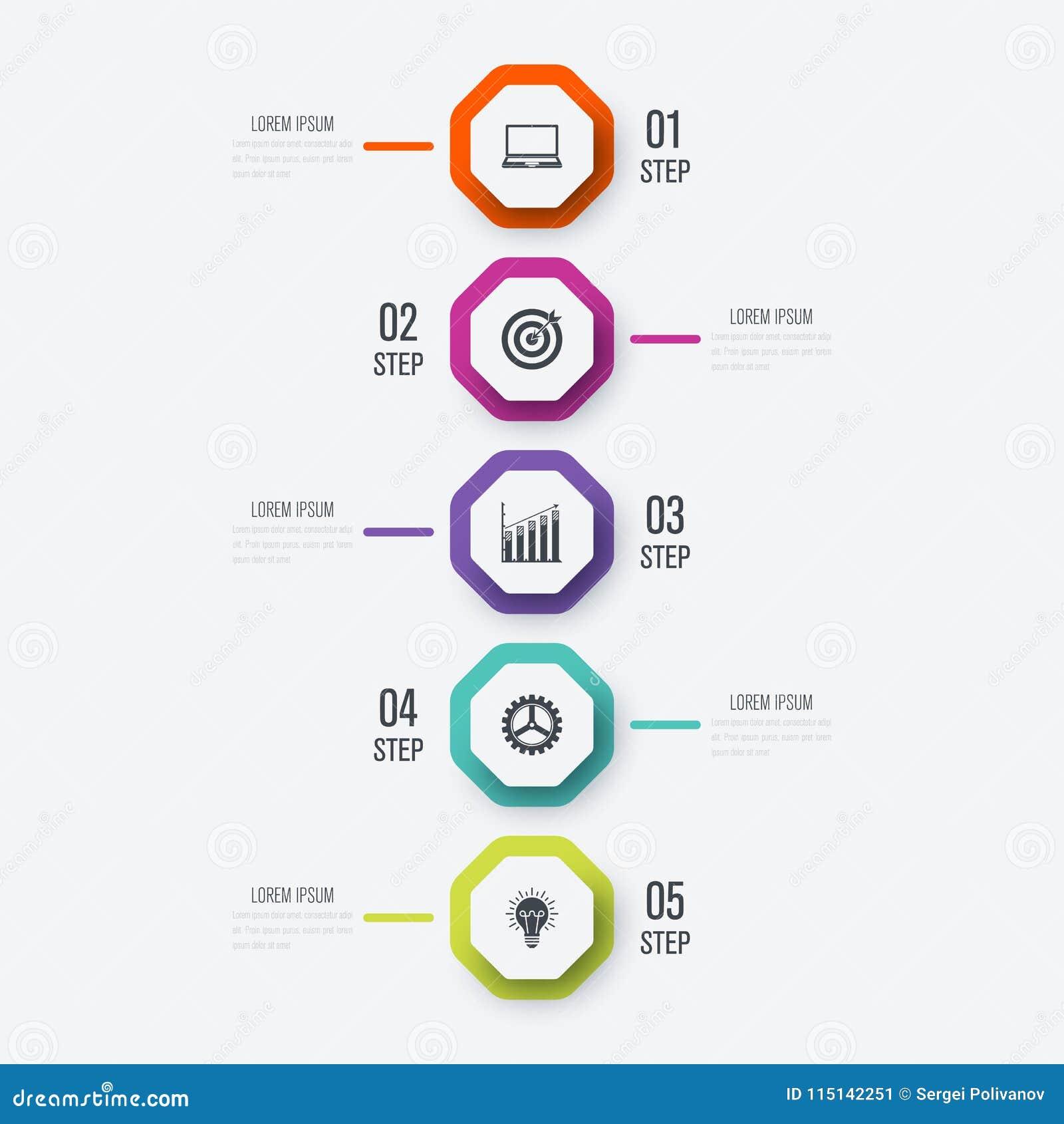 Infographics dell illustrazione di vettore 5 opzioni