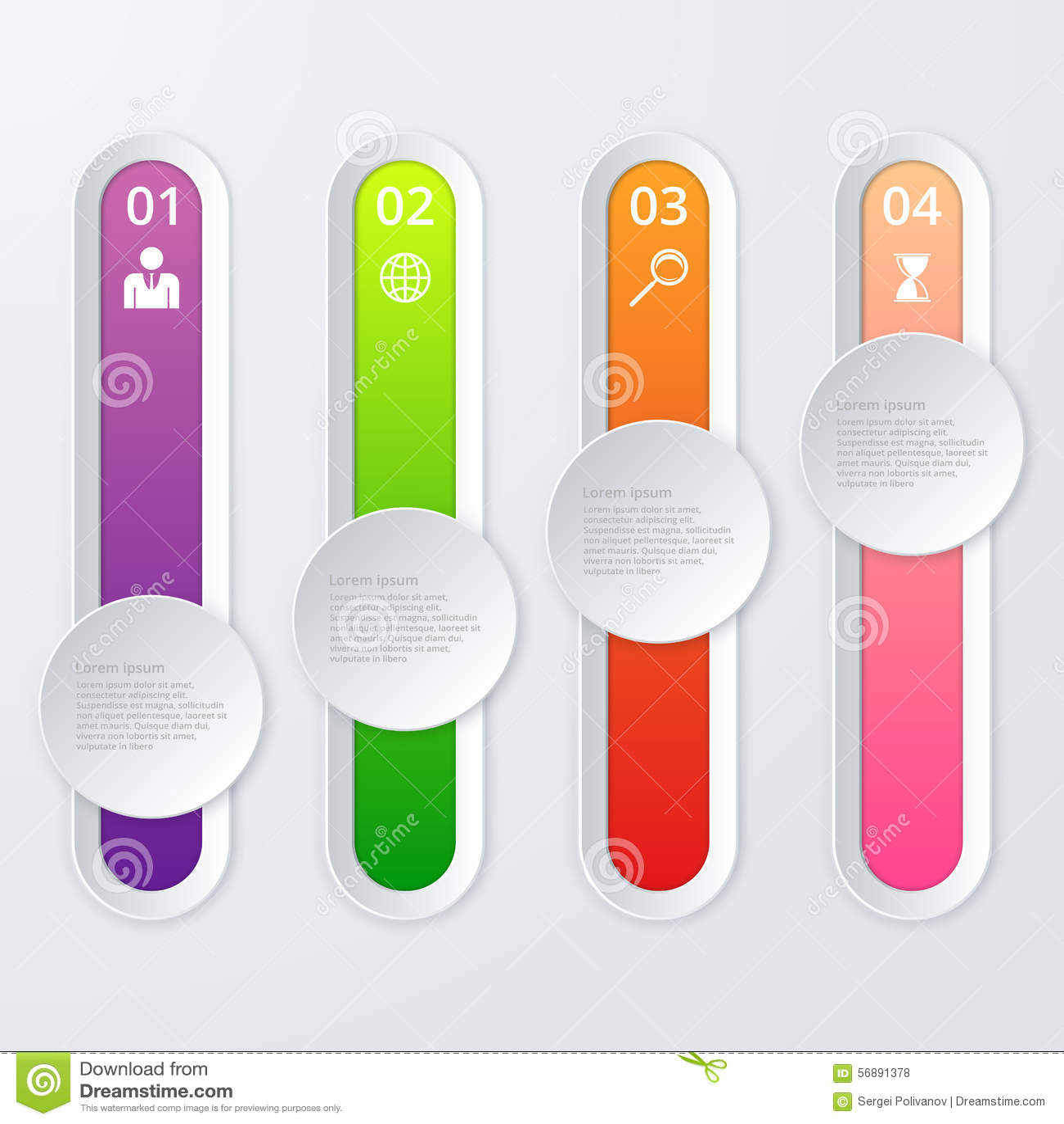Infographics dell illustrazione di vettore 4 opzioni