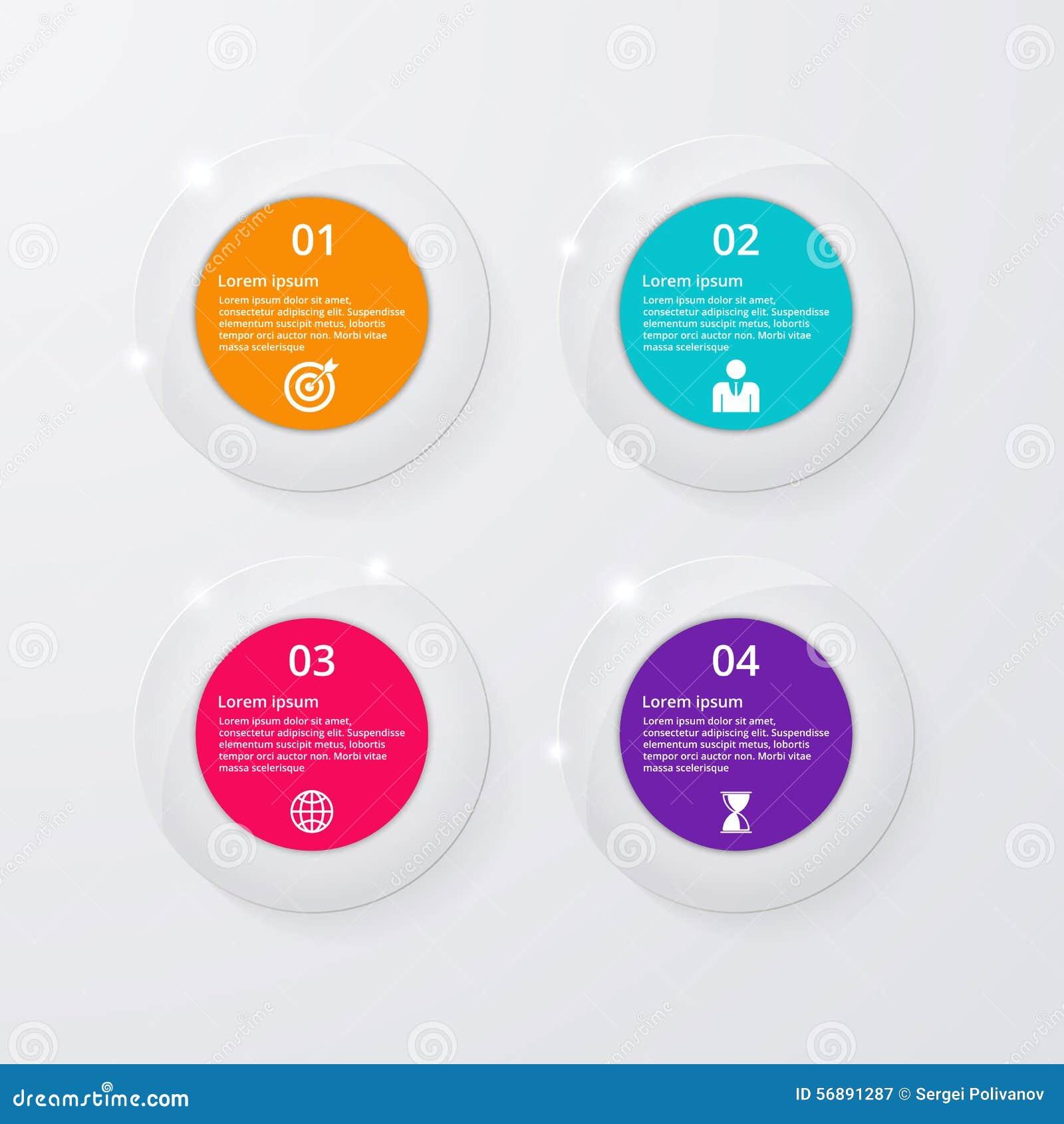 Infographics dell illustrazione di vettore quattro cerchi